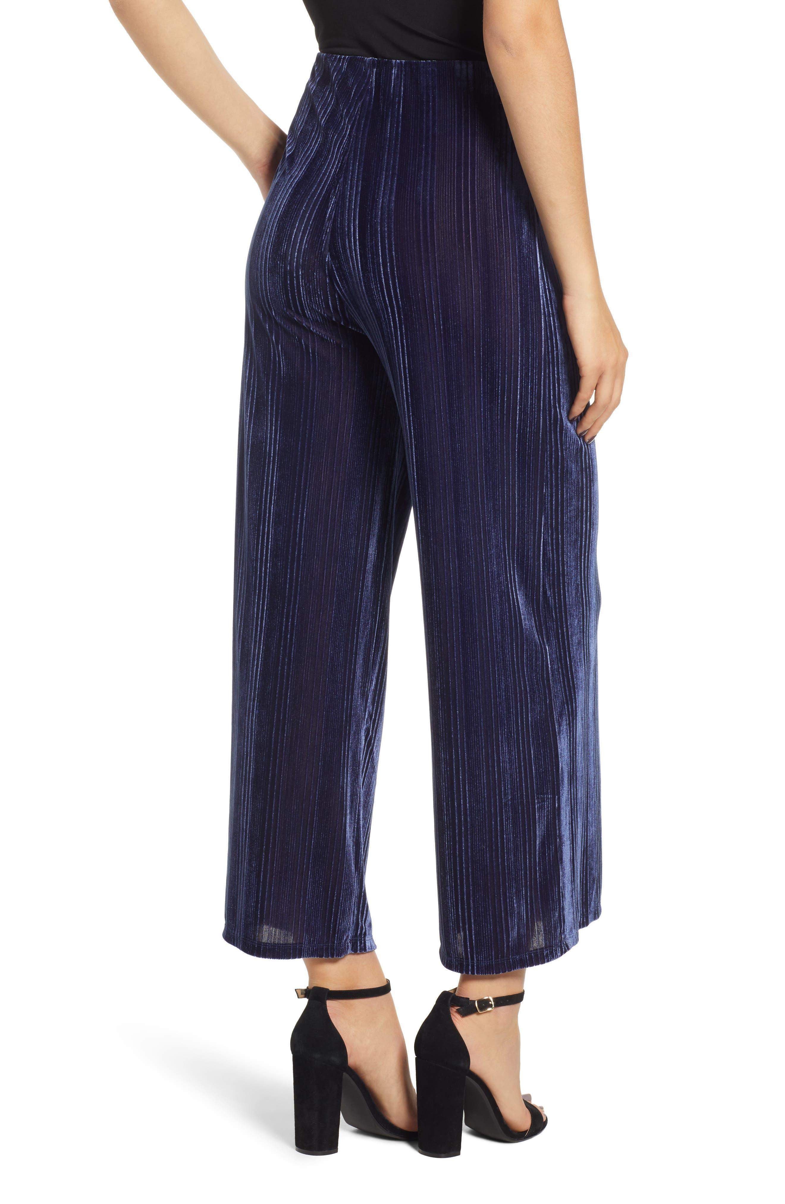 Velour Wide Leg Crop Pants,                             Alternate thumbnail 2, color,                             NAVY MARITIME