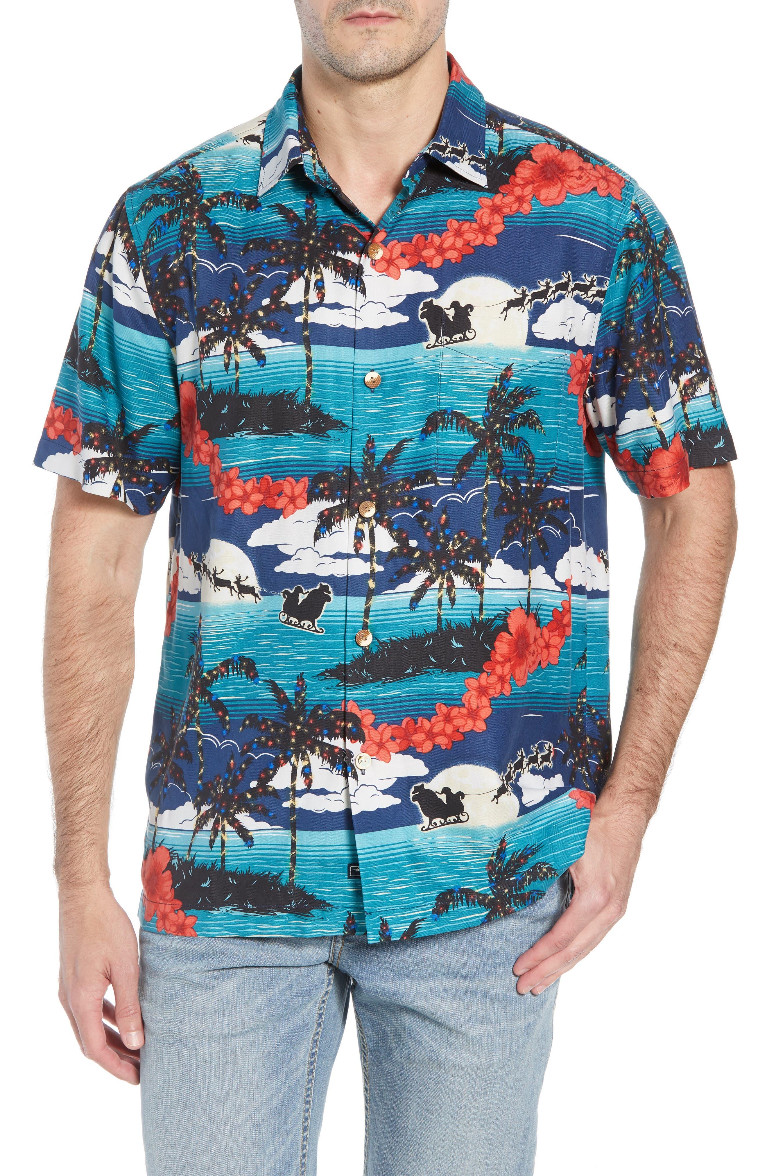 Moonlight In Paradise Silk Camp Shirt,                             Main thumbnail 1, color,                             OCEAN DEEP
