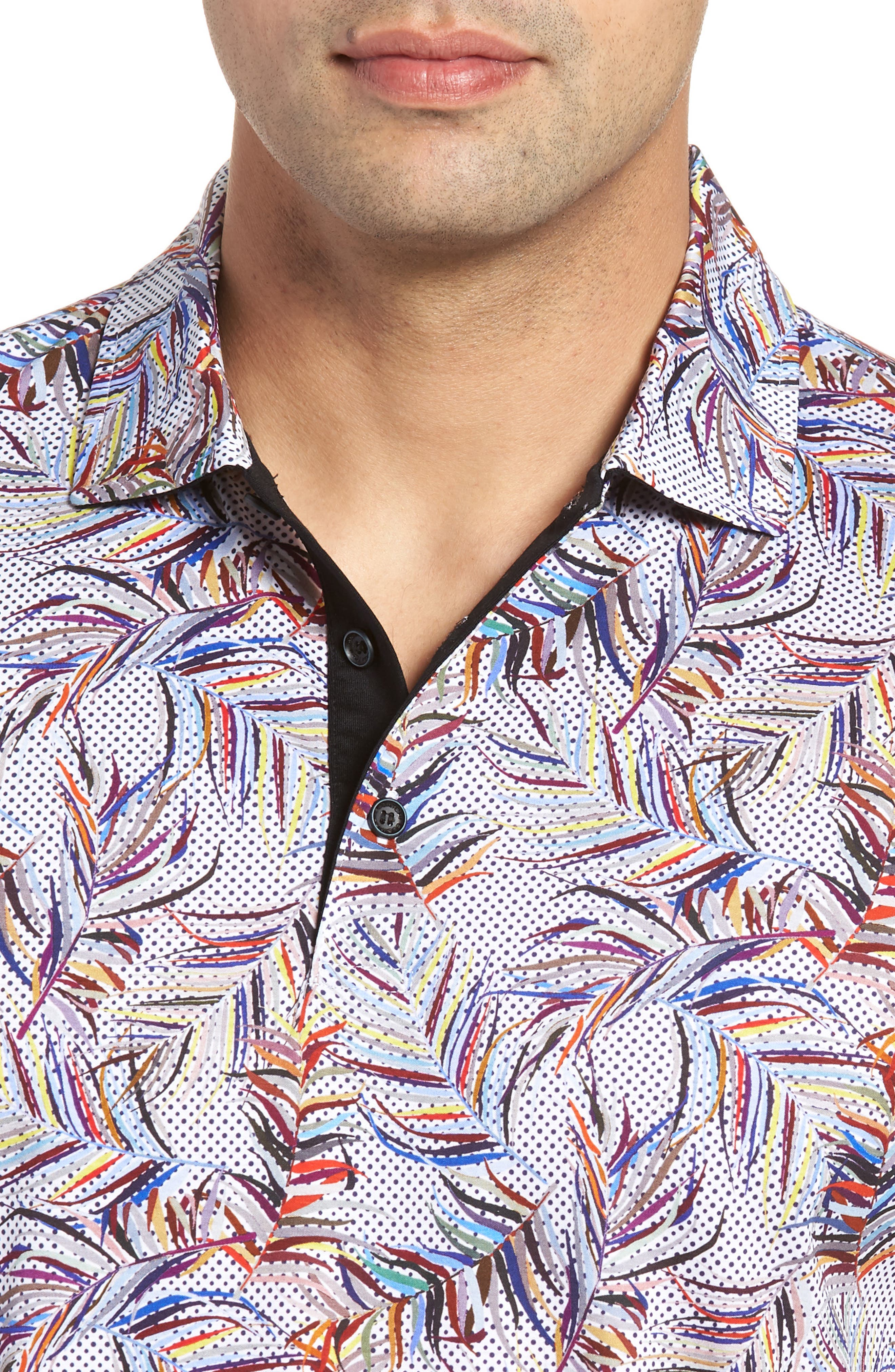 BUGATCHI,                             Multicolor Frond Print Polo,                             Alternate thumbnail 4, color,                             CANDY