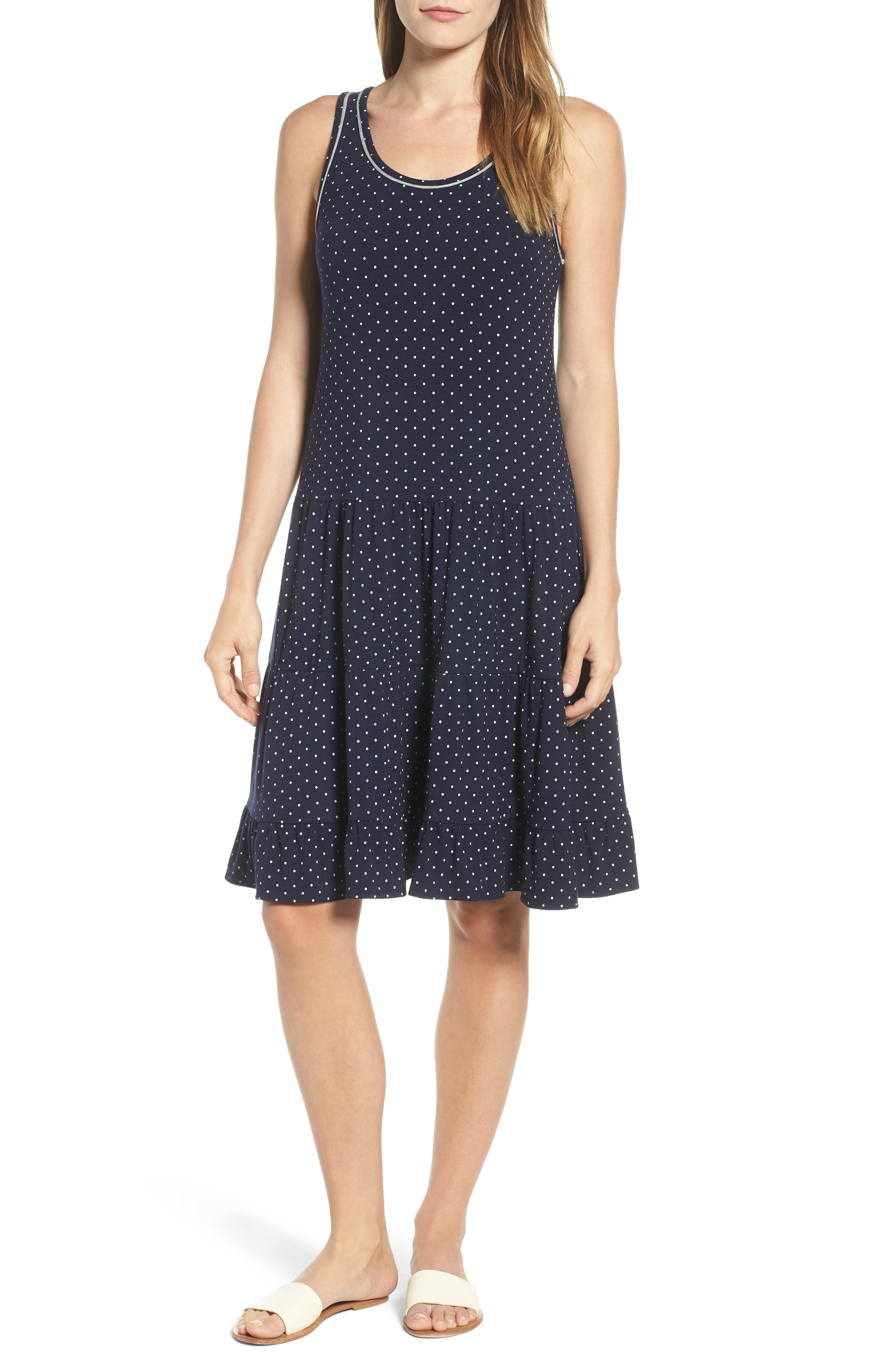 WIT & WISDOM Polka Dot Tiered Tank Dress, Main, color, 400