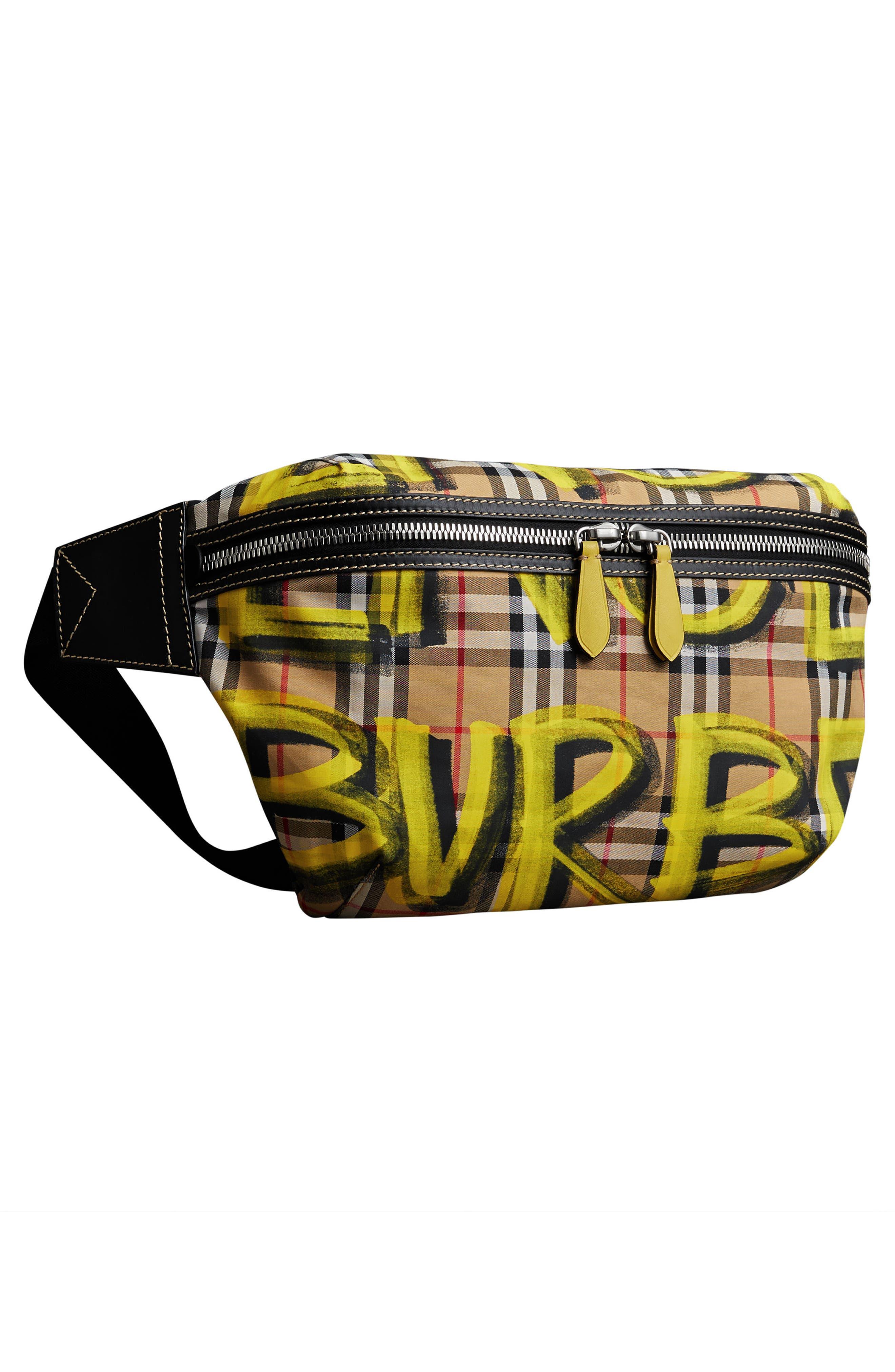 Large Sonny Graffiti Check Canvas Bum Bag,                             Alternate thumbnail 5, color,