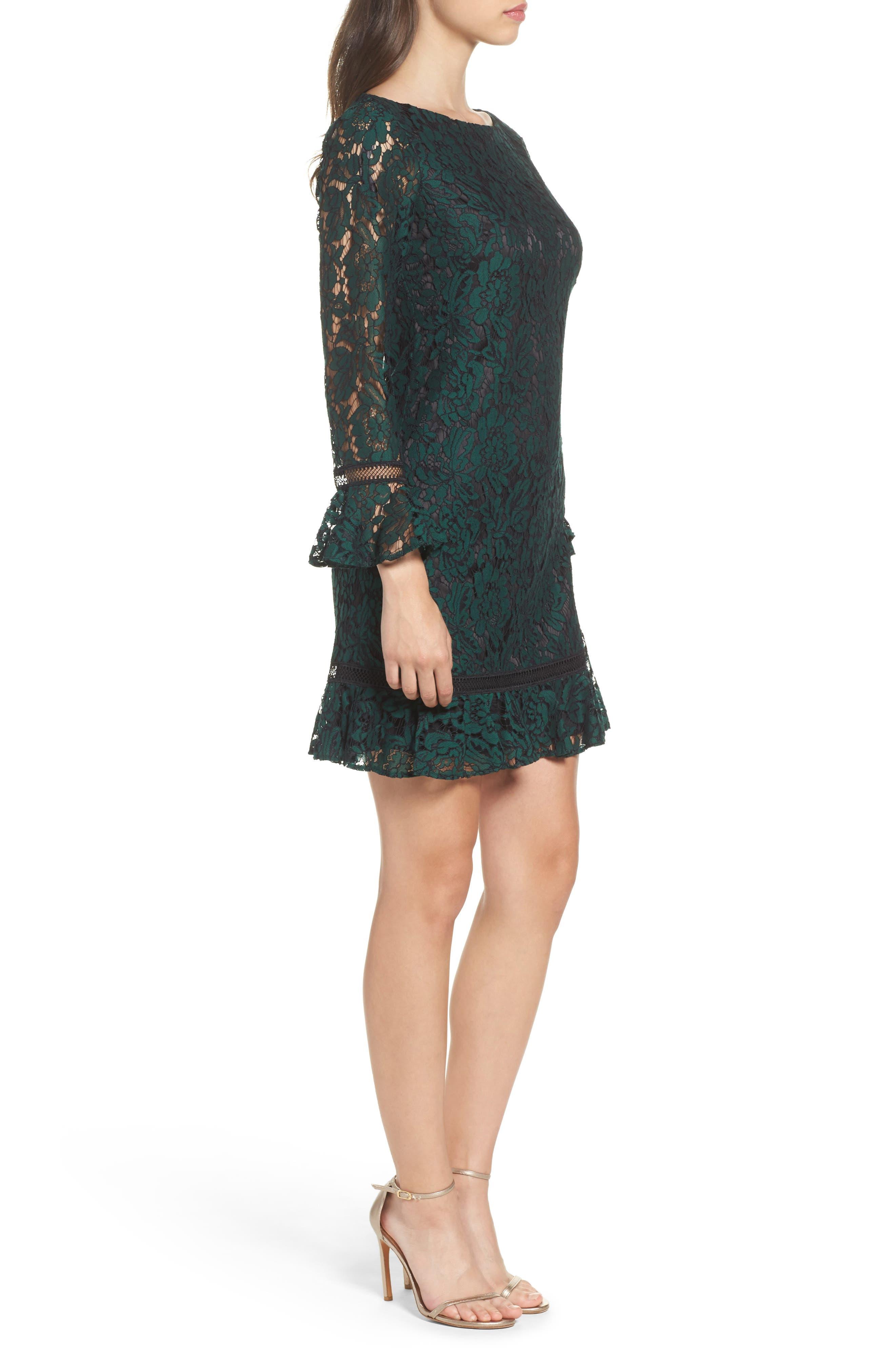Bell Sleeve Lace Shift Dress,                             Alternate thumbnail 3, color,                             HUNTER