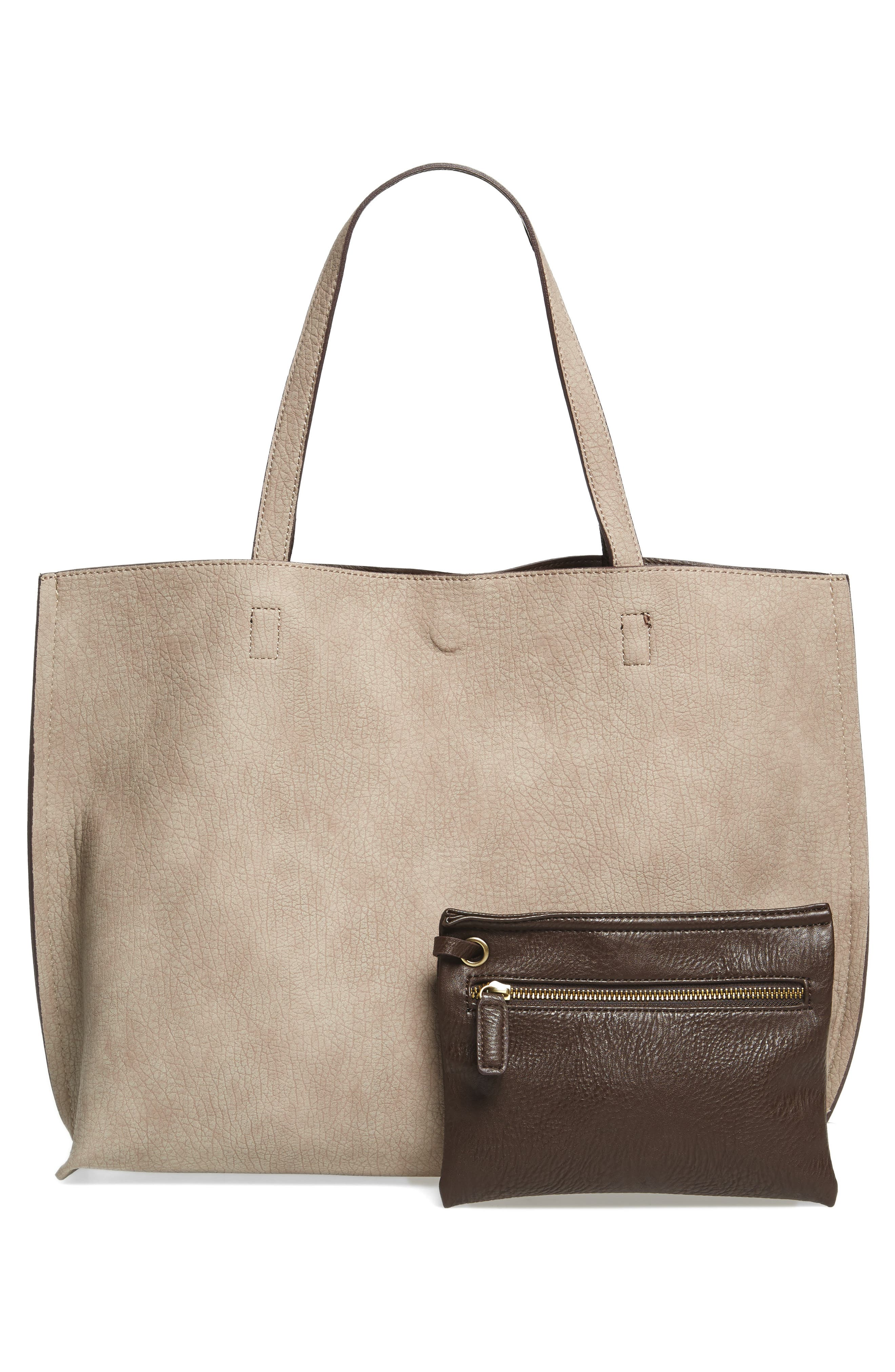 Reversible Faux Leather Tote,                             Alternate thumbnail 27, color,