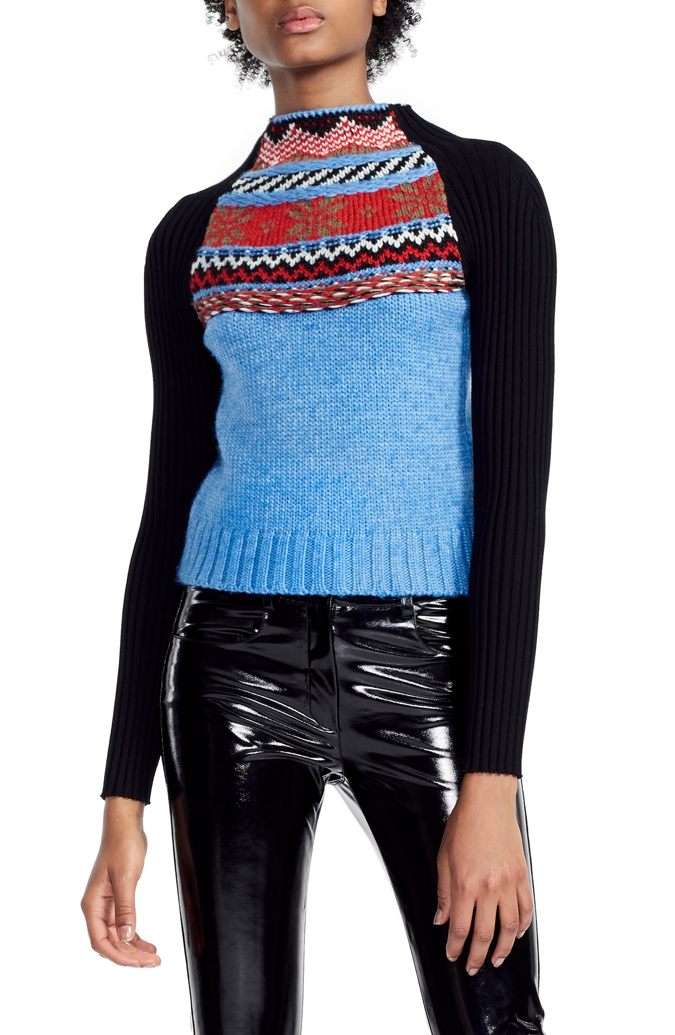 MAJE,                             Mixed Knit Sweater,                             Main thumbnail 1, color,                             400
