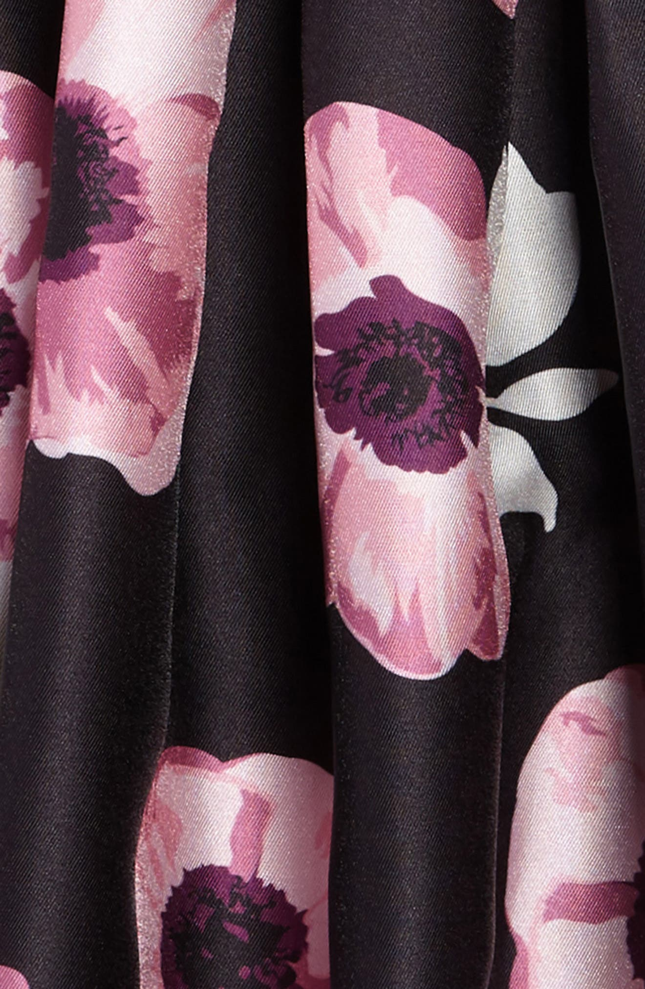 Floral Fit & Flare Dress,                             Alternate thumbnail 3, color,                             001