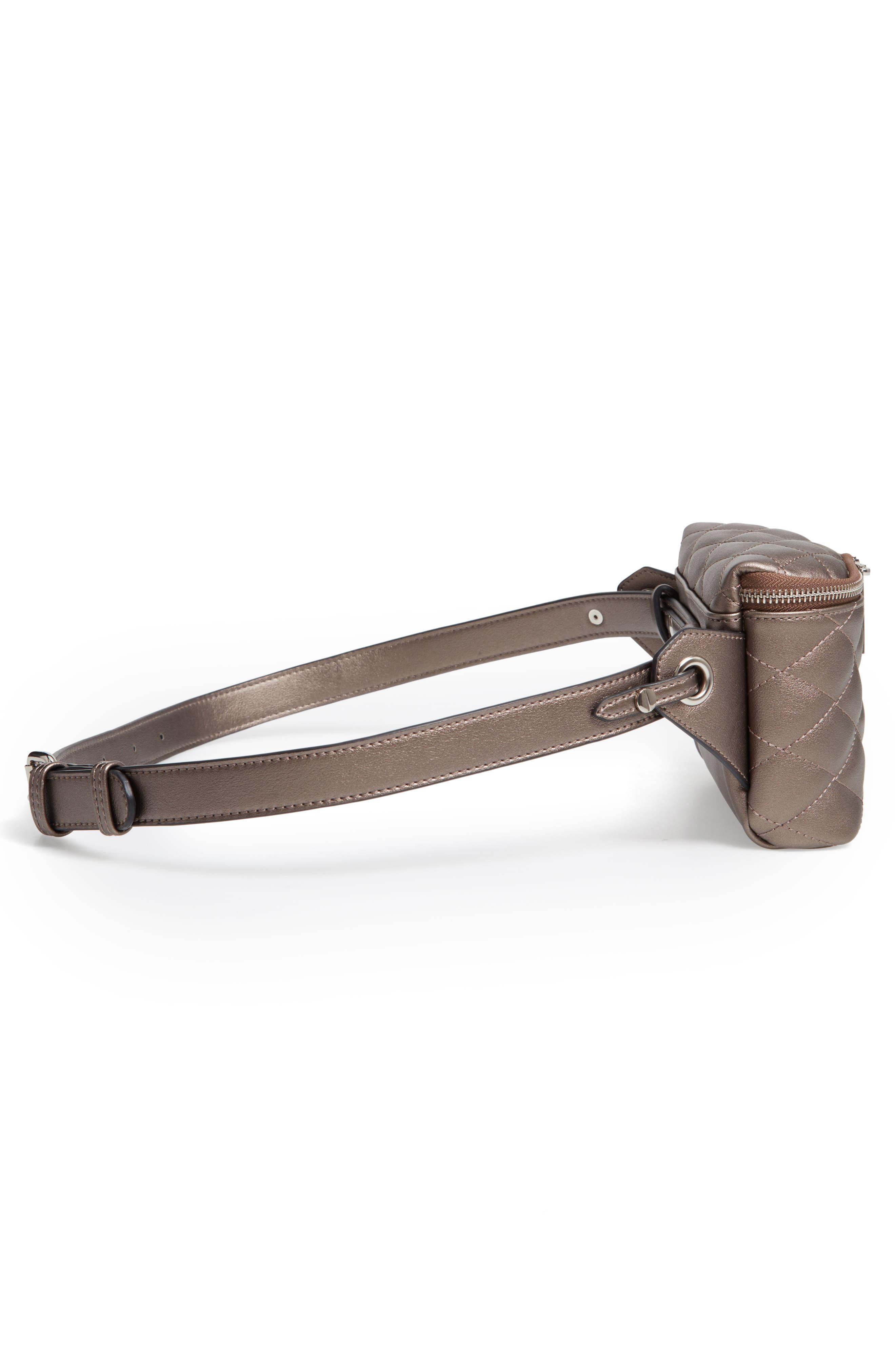 MALI + LILI,                             Faye Vegan Leather Quilted Belt Bag,                             Alternate thumbnail 6, color,                             PEWTER