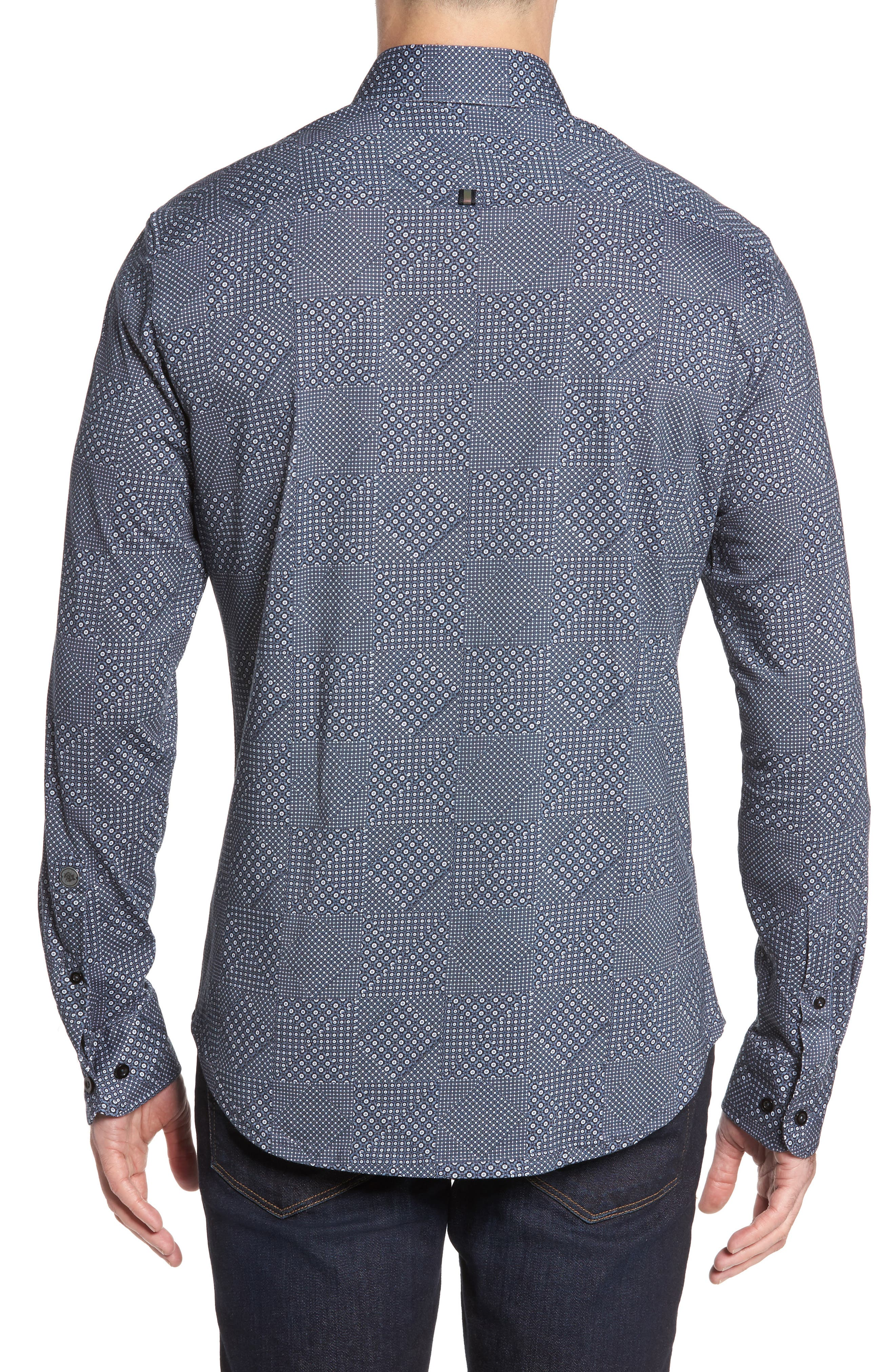 Slim Fit Patchwork Print Knit Sport Shirt,                             Alternate thumbnail 2, color,                             001