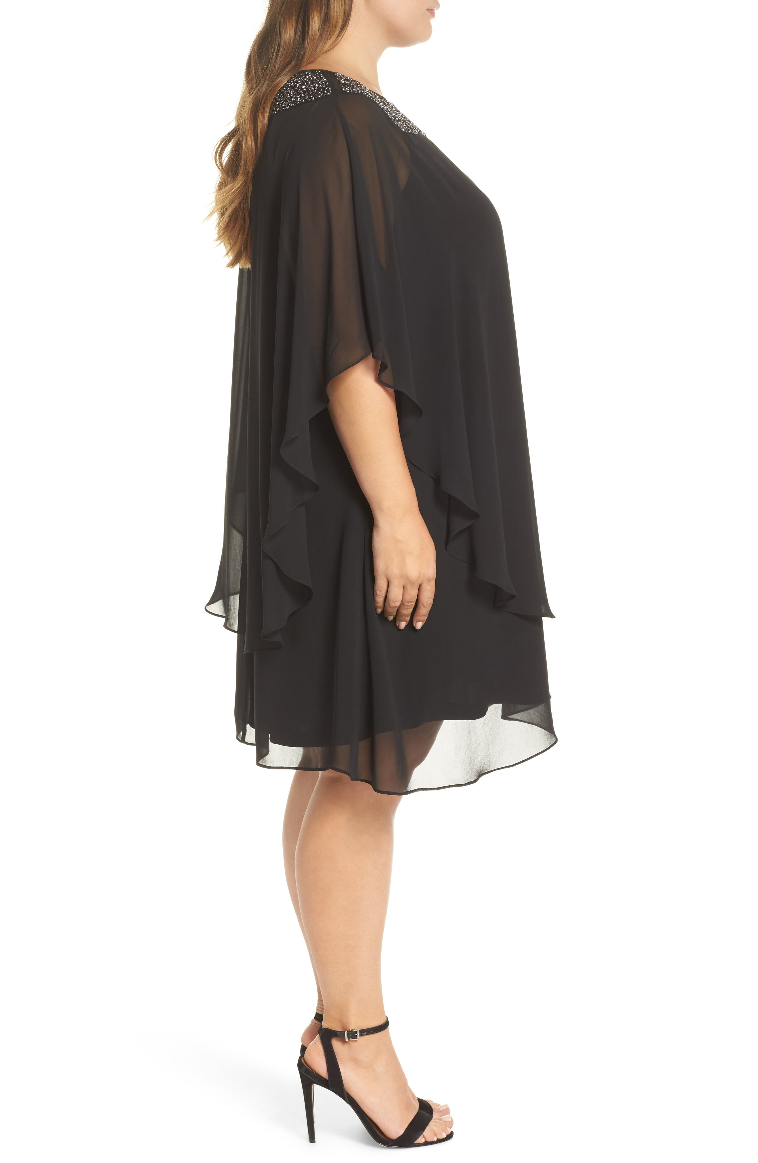 Beaded Neck Chiffon Overlay Dress,                             Alternate thumbnail 3, color,                             BLACK/ GUNMETAL