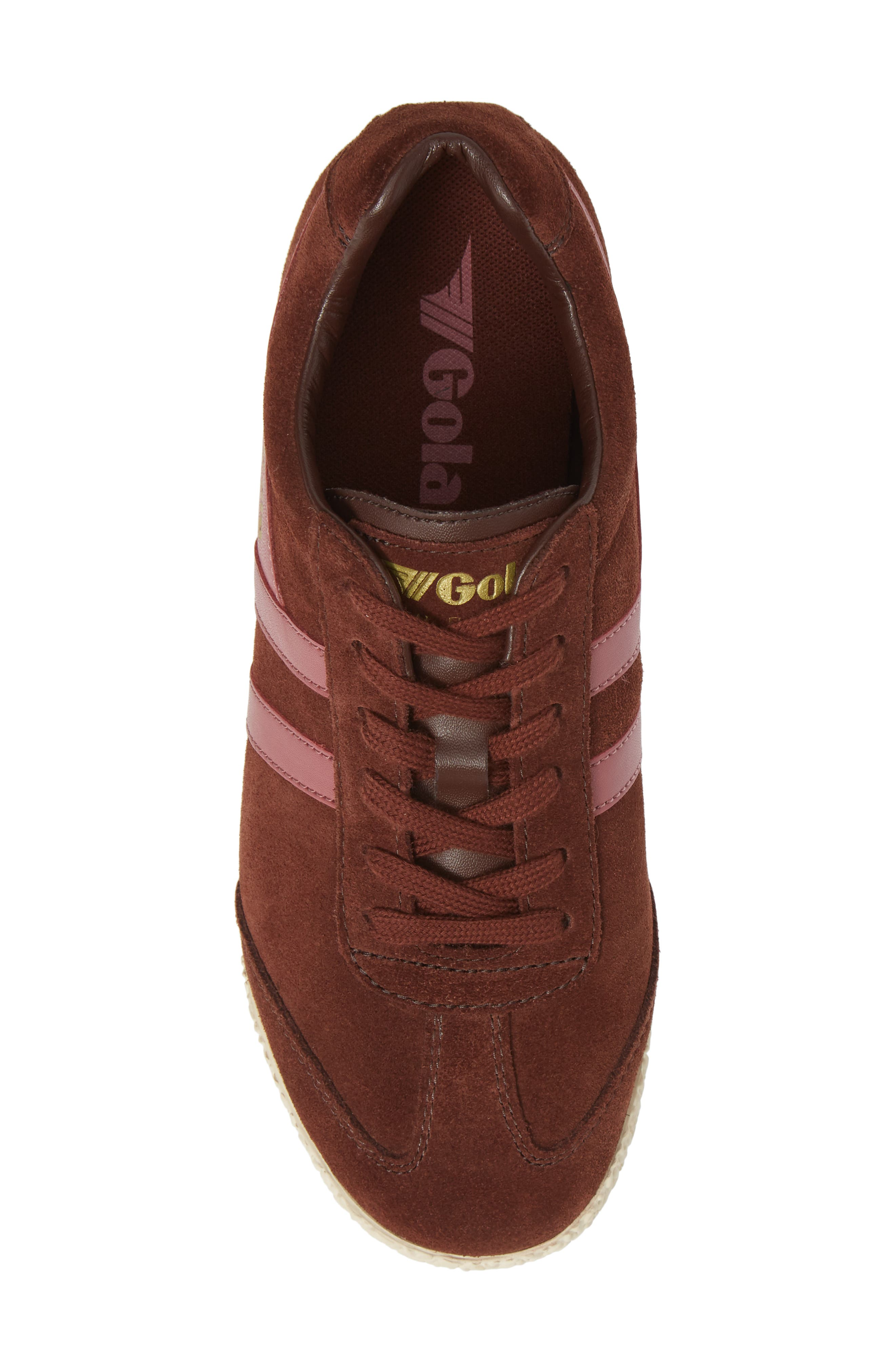 Harrier Suede Low Top Sneaker,                             Alternate thumbnail 5, color,                             COGNAC/ DUSTY ROSE