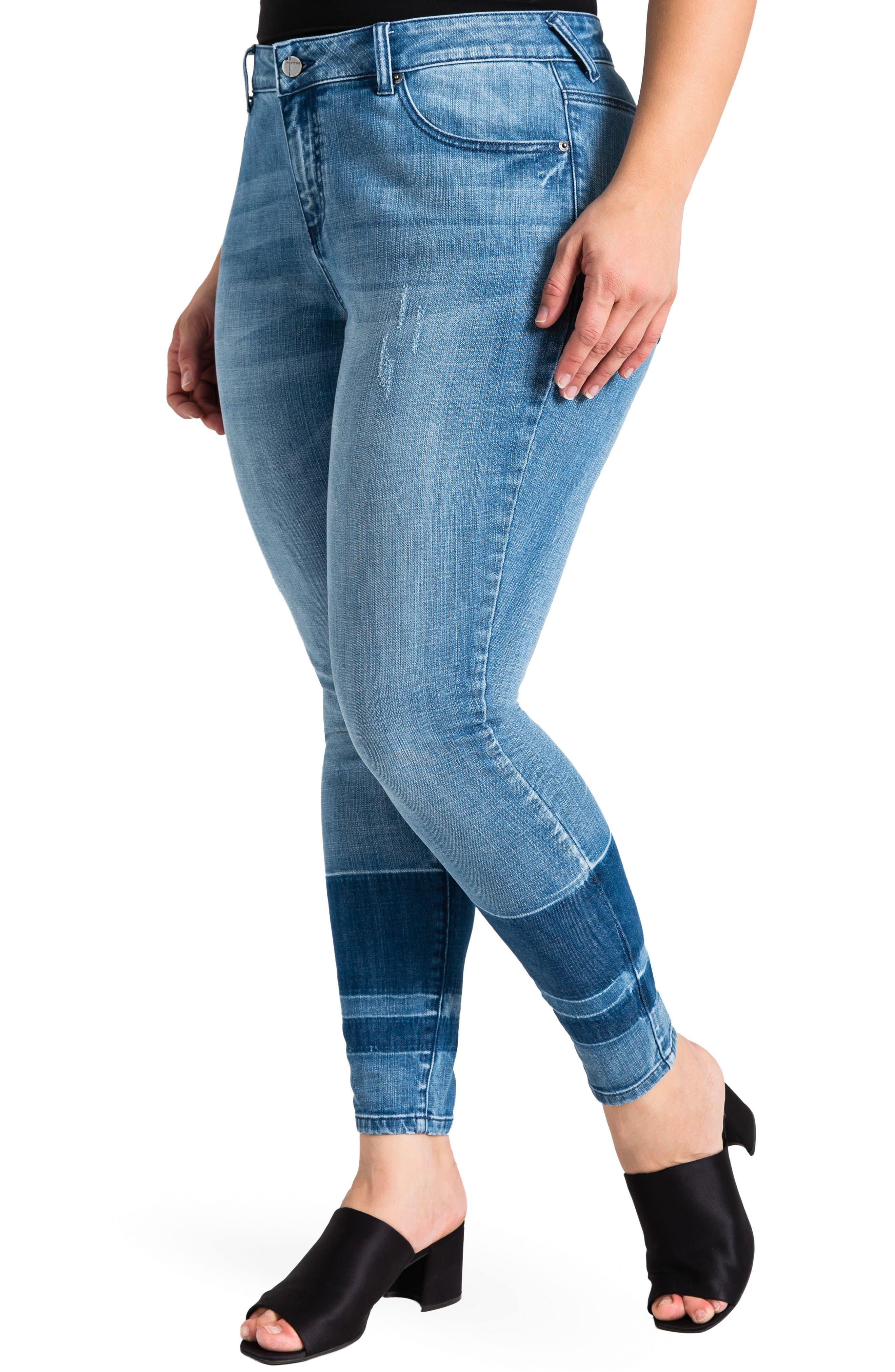 Virginia Ankle Skinny Jeans,                             Main thumbnail 1, color,                             MEDIUM BLUE