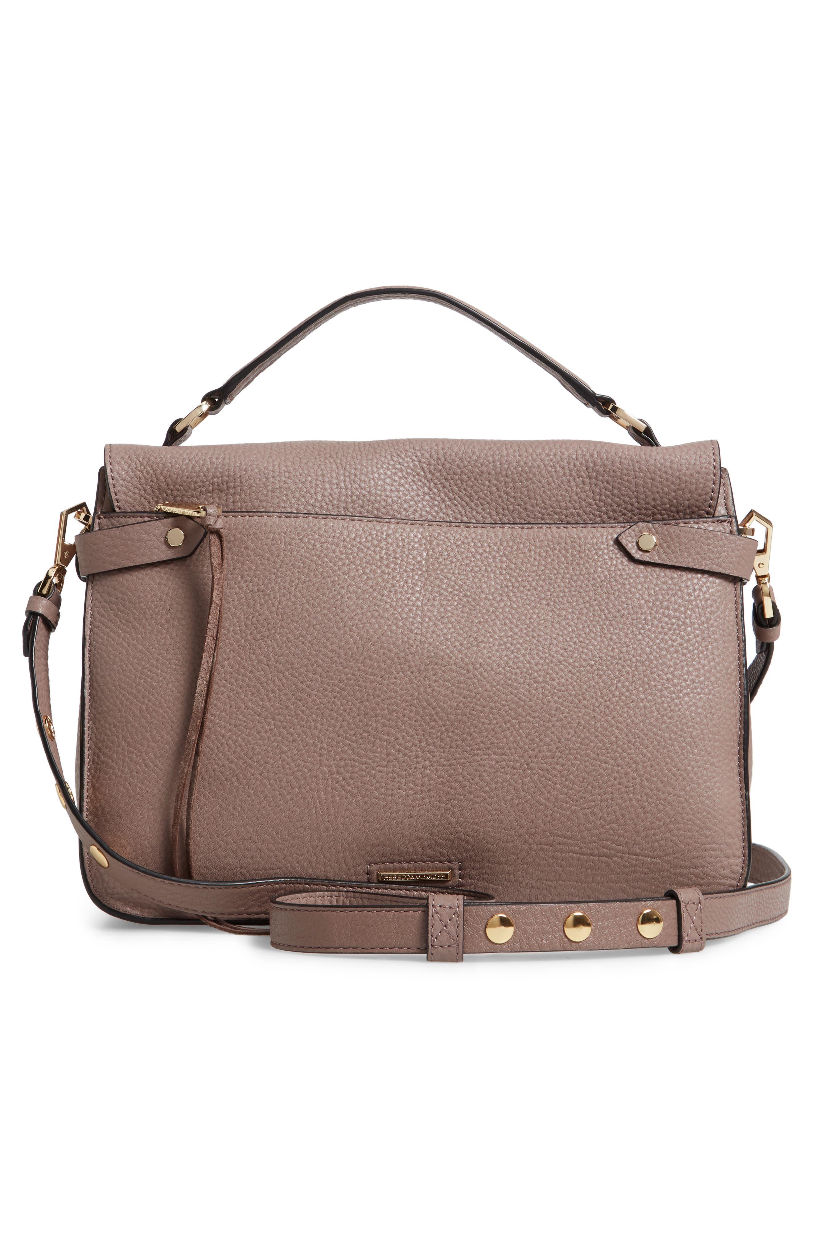 Darren Leather Messenger Bag,                             Alternate thumbnail 3, color,                             MINK