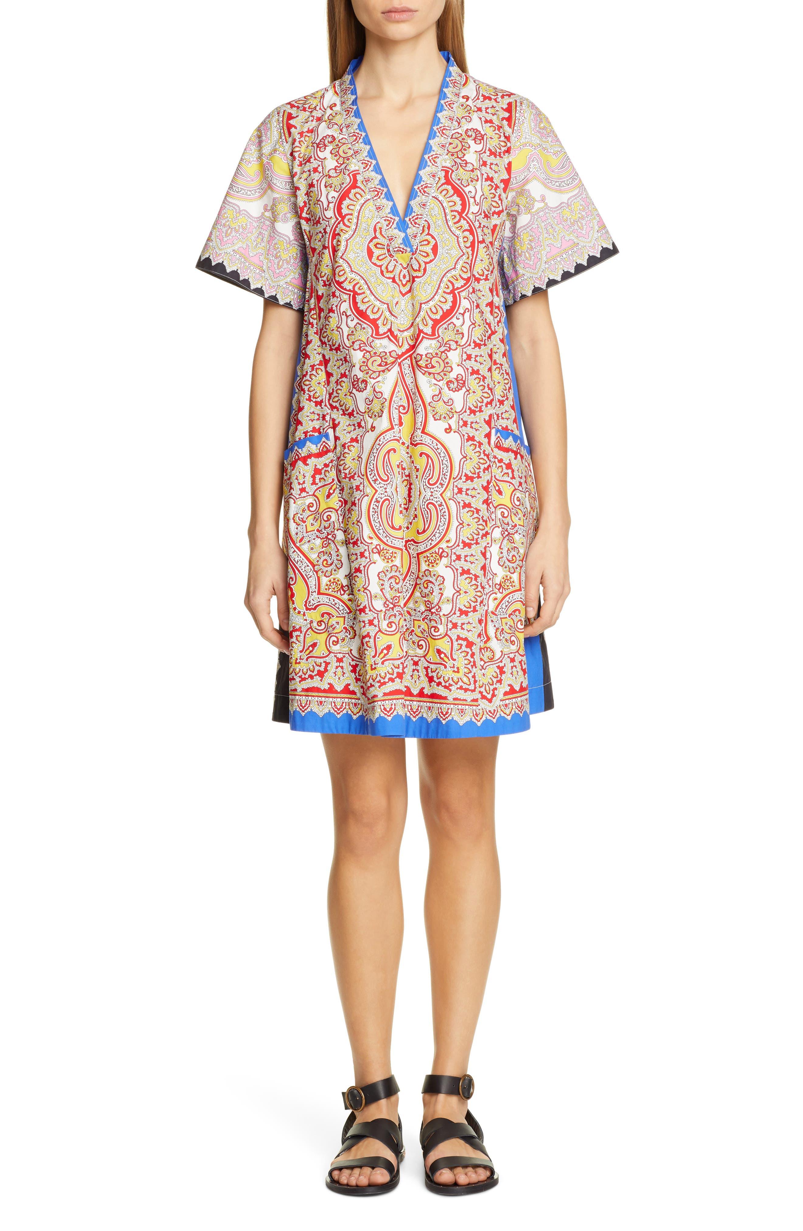 Etro Print Cotton Poplin Shift Dress, US / 42 IT - Ivory