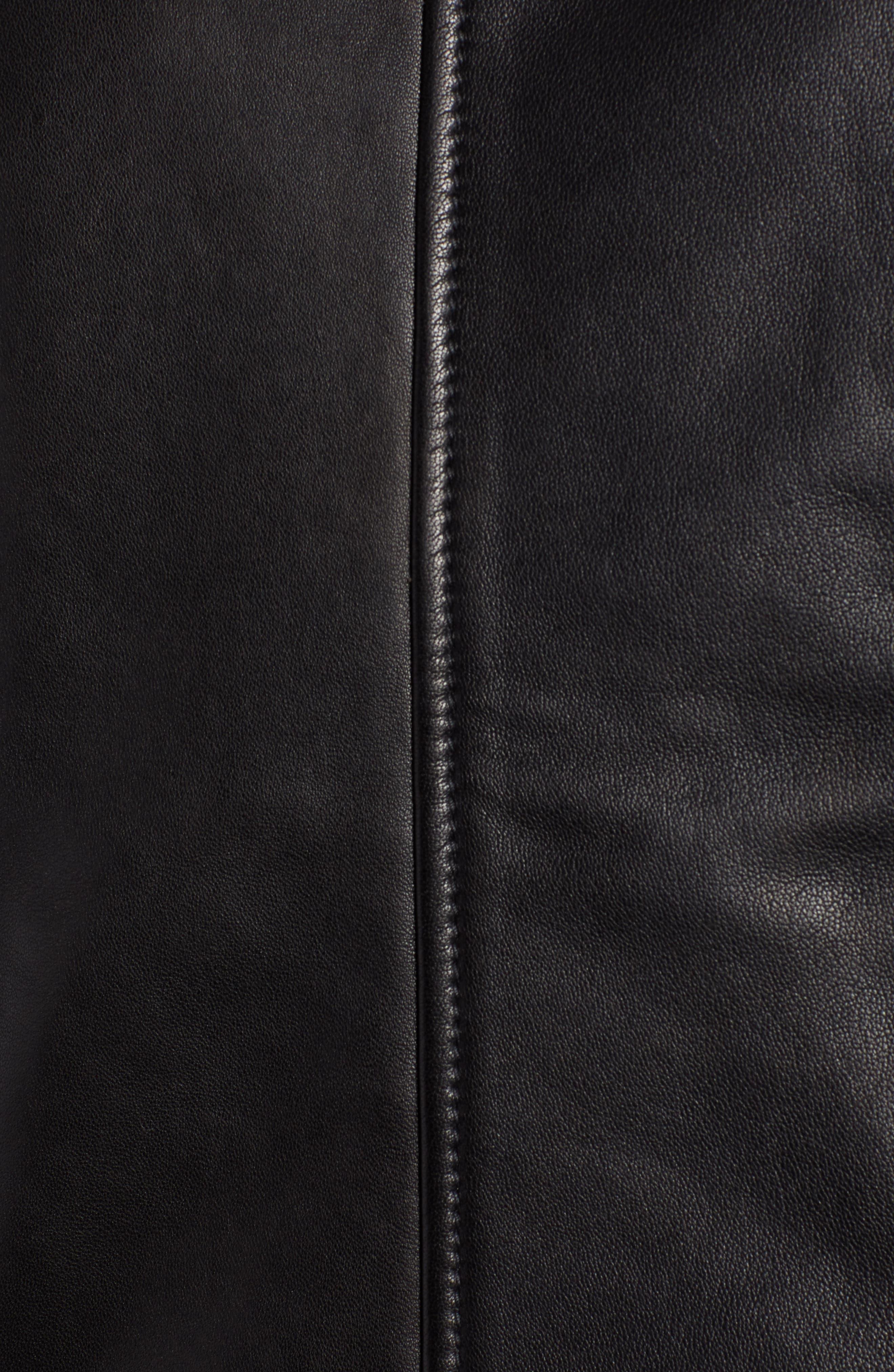 SOMETHING NAVY,                             Aviator Leather Jacket,                             Alternate thumbnail 7, color,                             001
