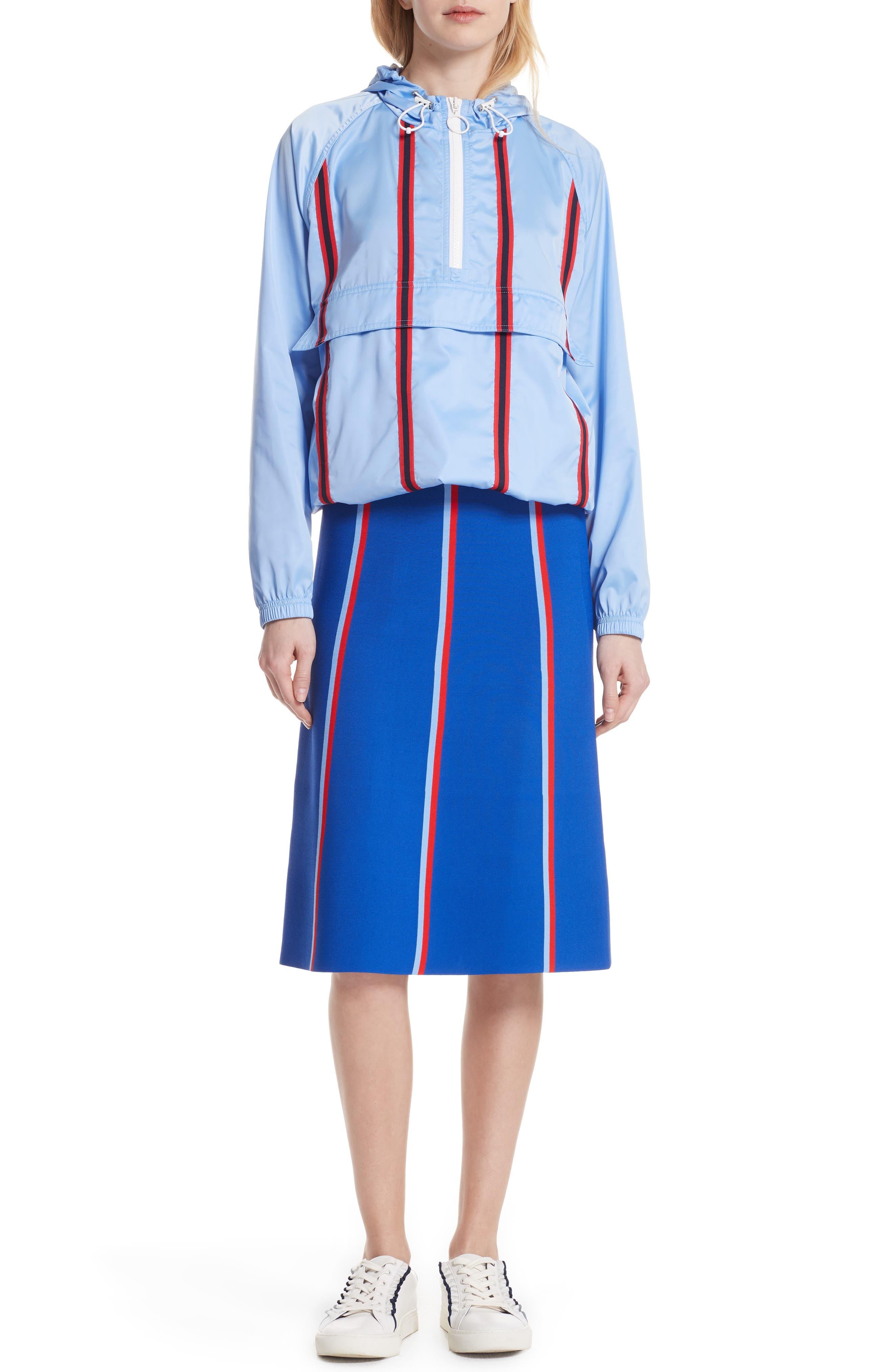 Twin Stripe Tech Knit Skirt,                             Alternate thumbnail 7, color,                             SLALOM BLUE