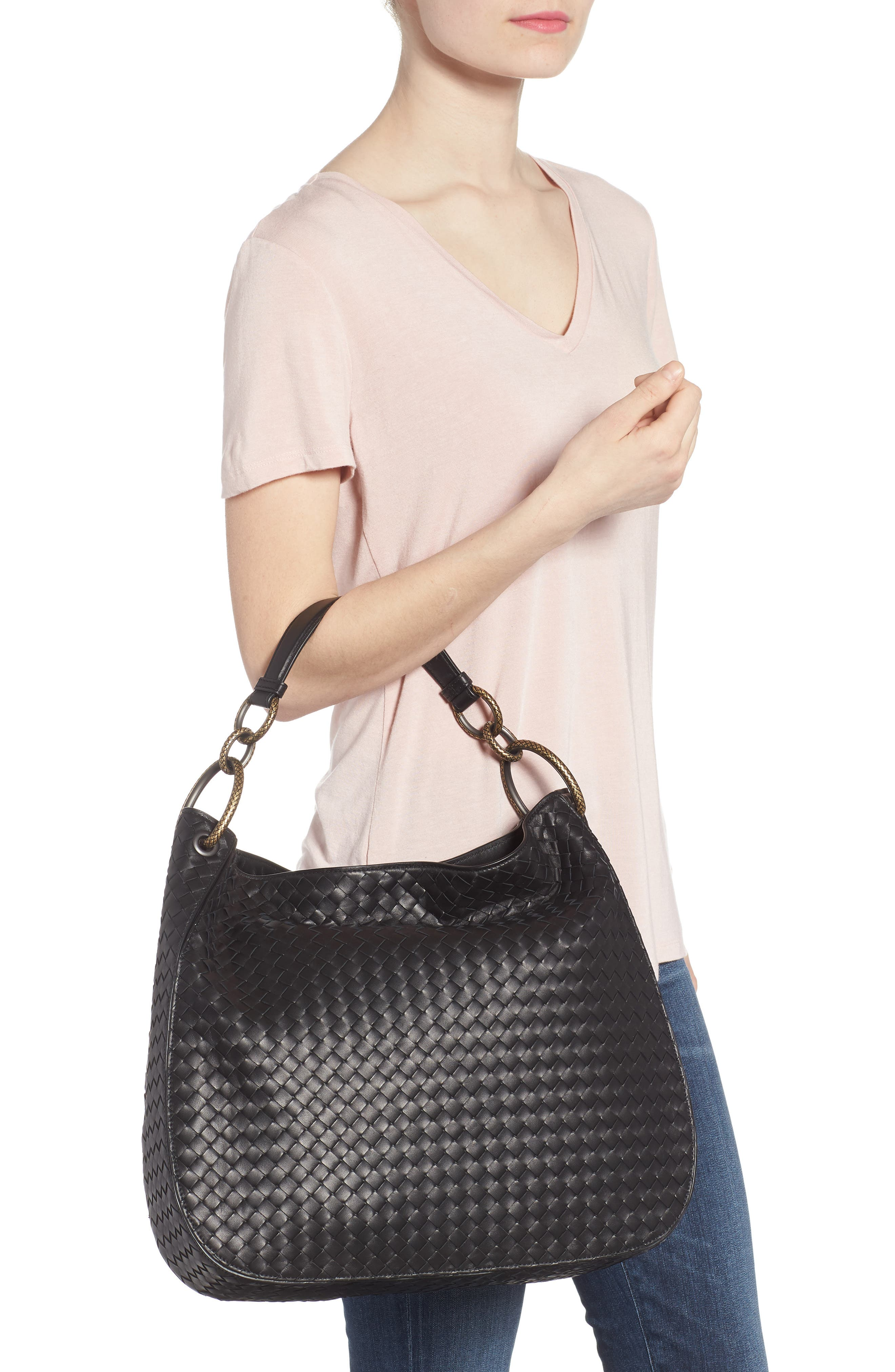 Large Loop Woven Leather Hobo,                             Alternate thumbnail 2, color,                             NERO