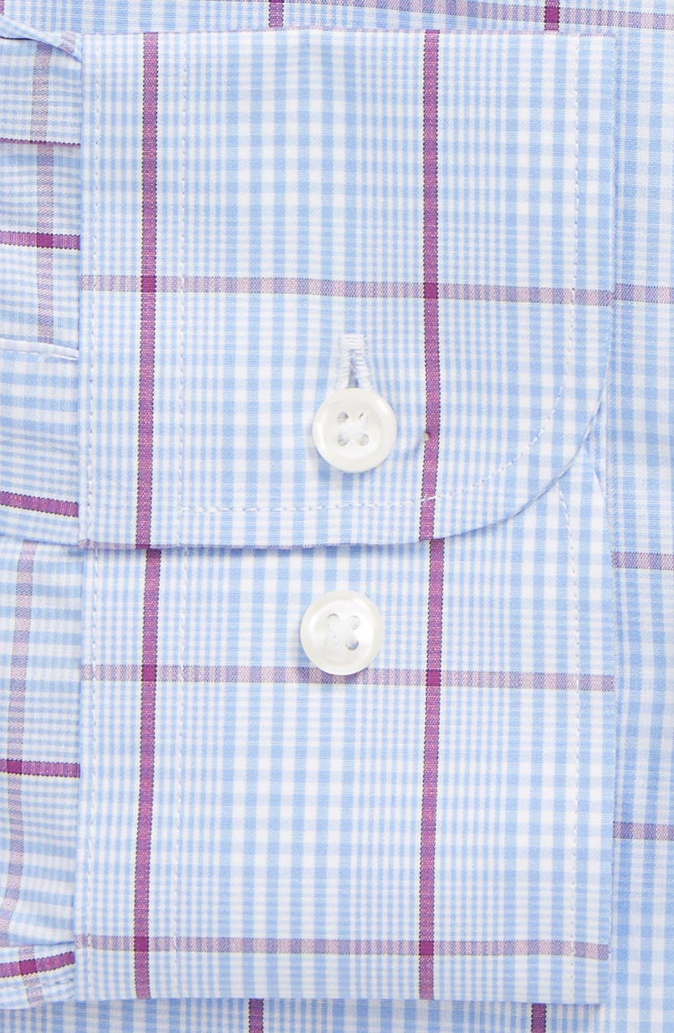 Trim Fit Plaid Dress Shirt,                             Alternate thumbnail 6, color,                             530