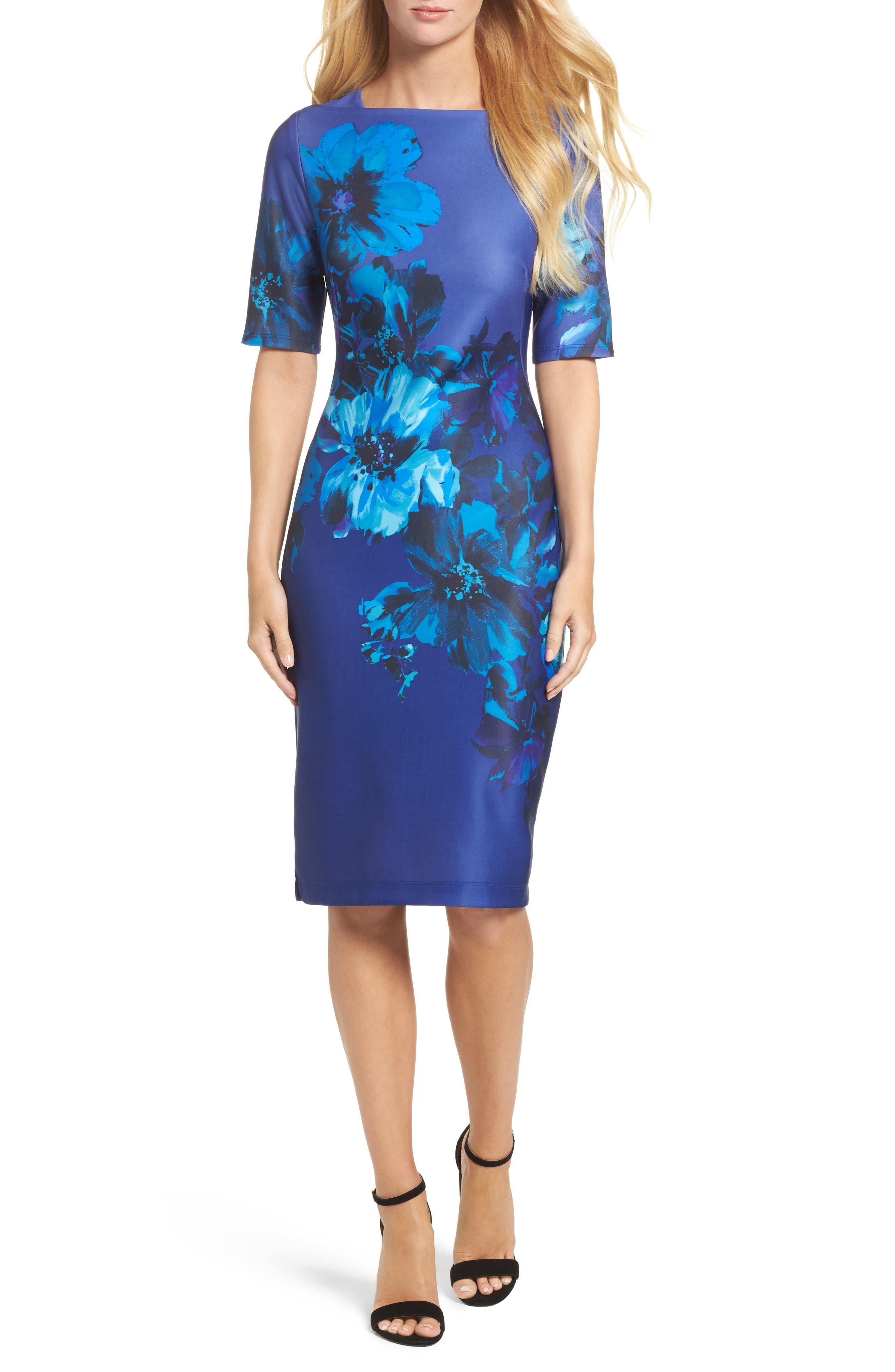 Floral Print Scuba Sheath Dress,                             Main thumbnail 1, color,                             453