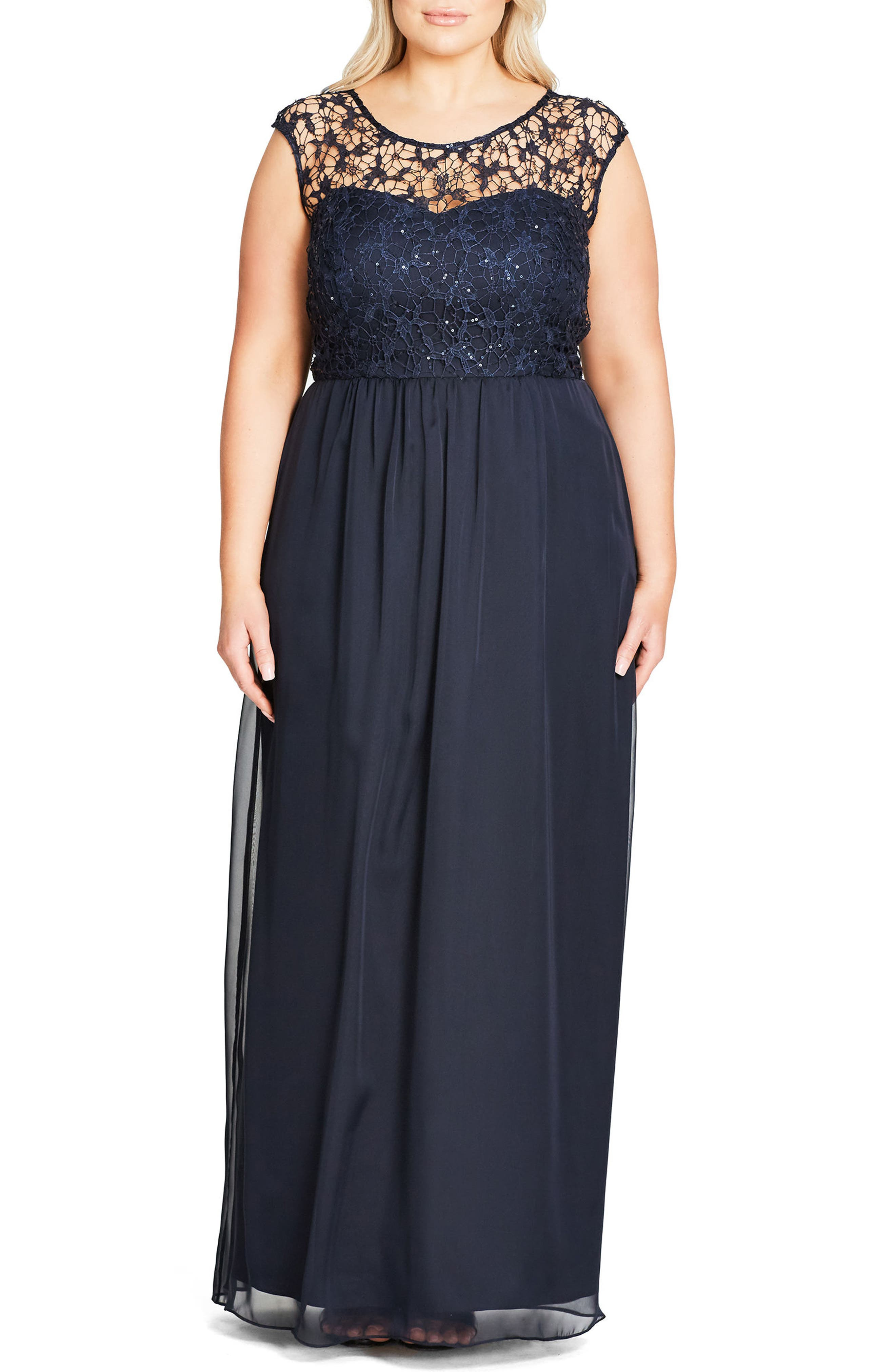 Sequin Lace Gown,                             Main thumbnail 1, color,                             NAVY MIDNIGHT