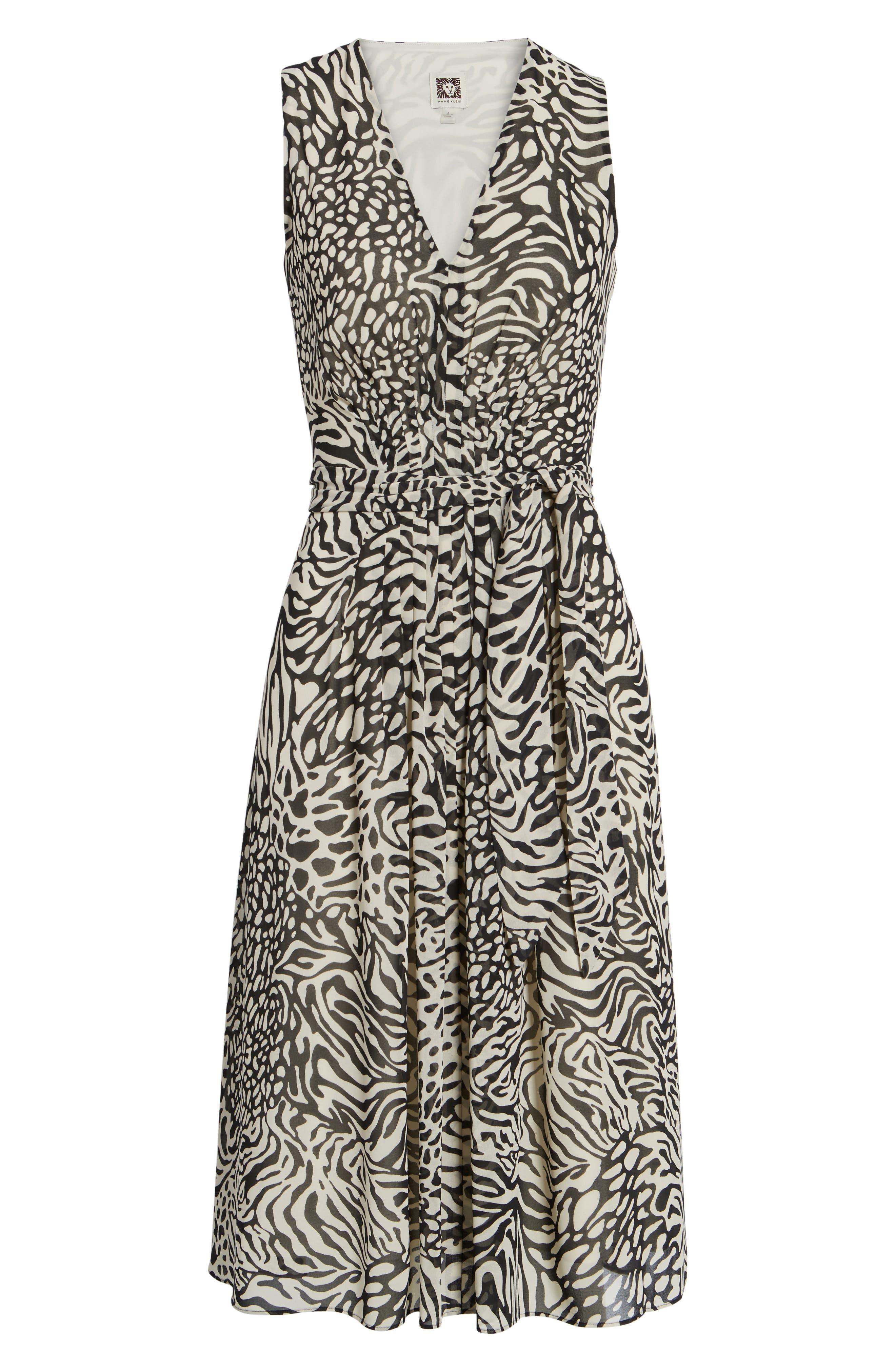 Print A-Line Dress,                             Alternate thumbnail 6, color,