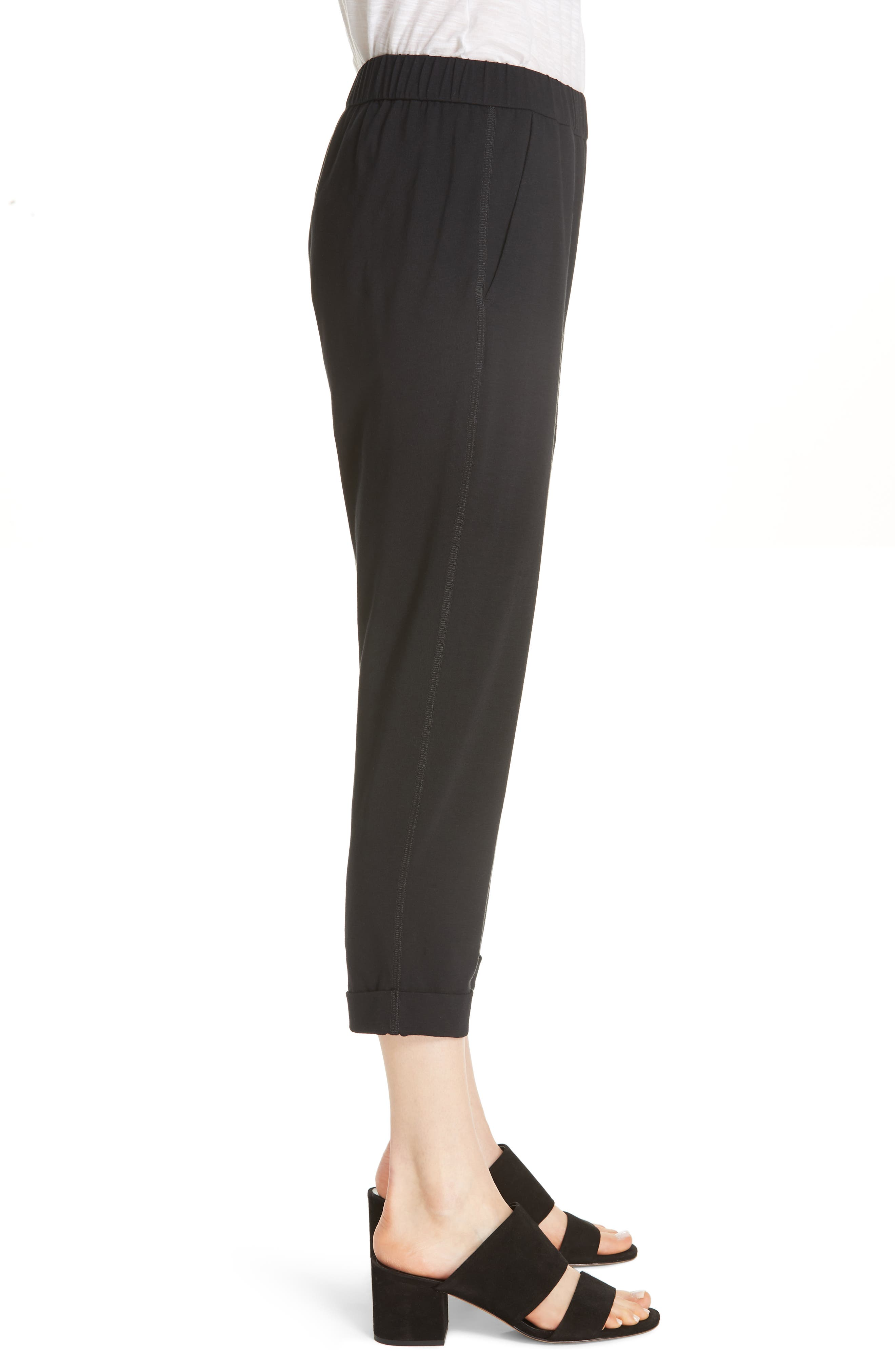 Slim Cropped Pants,                             Alternate thumbnail 3, color,                             BLACK