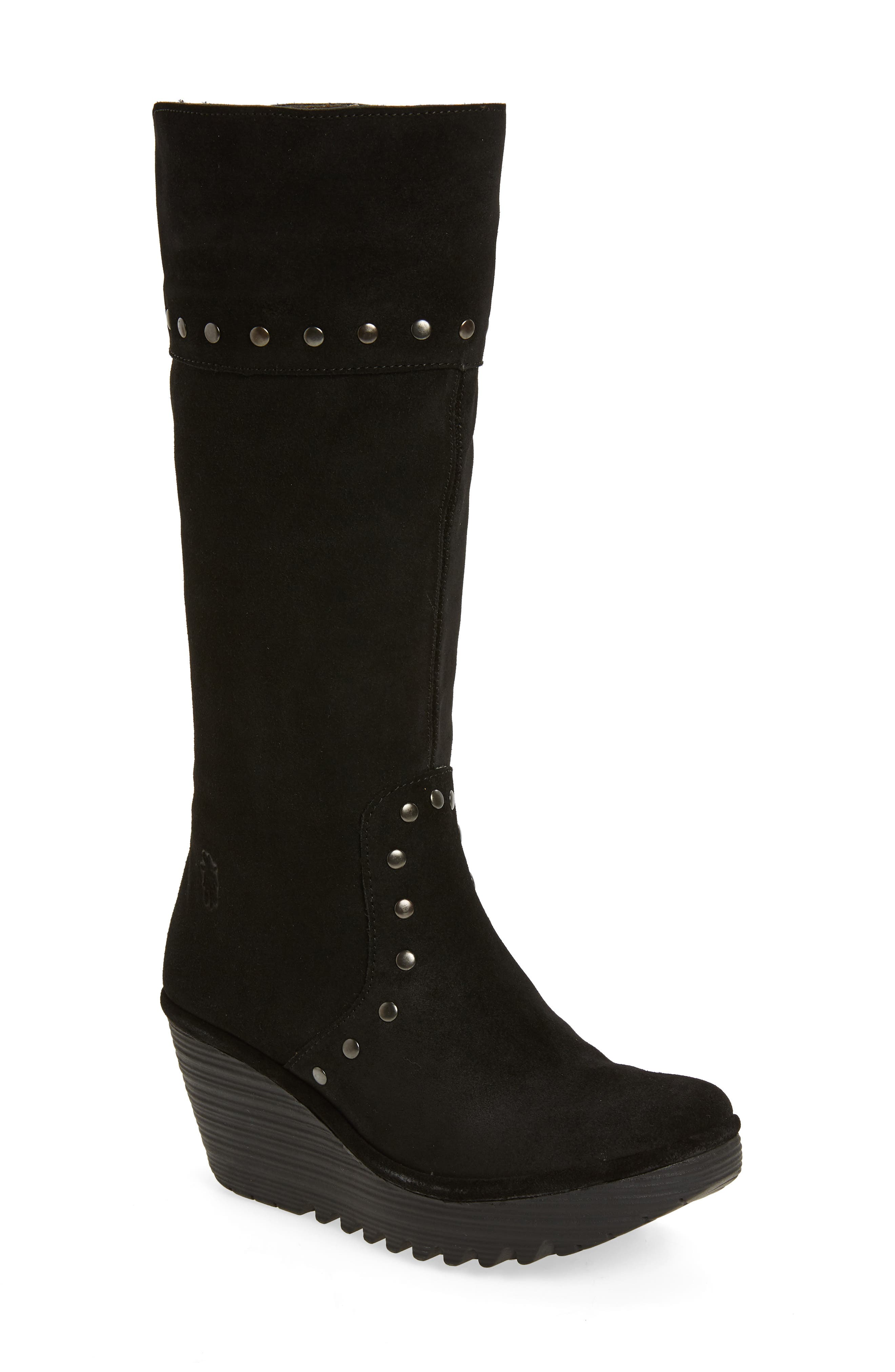 Yota Knee High Boot,                         Main,                         color, BLACK OIL SUEDE