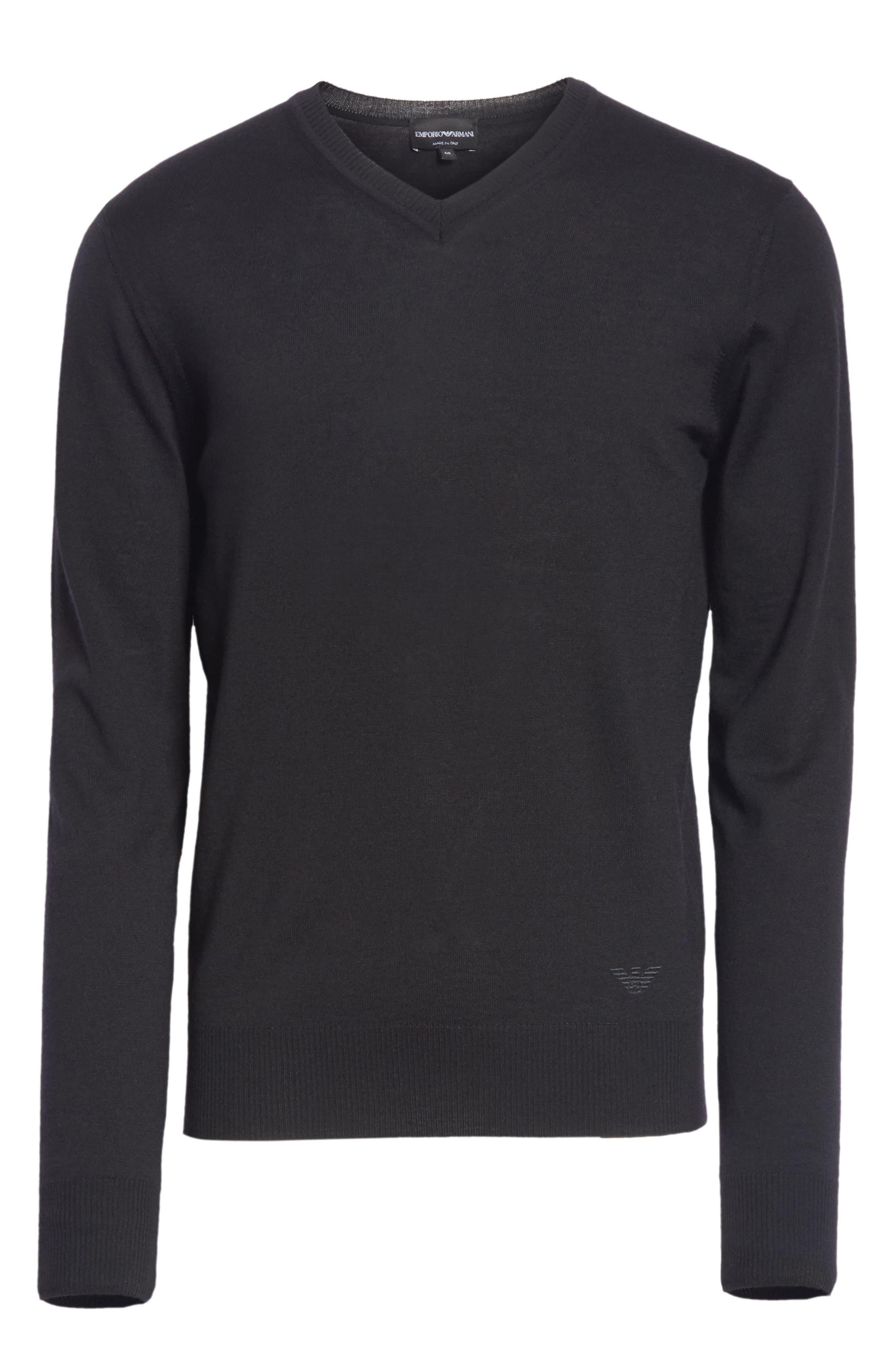 V-Neck Wool Sweater,                             Alternate thumbnail 6, color,                             BLACK