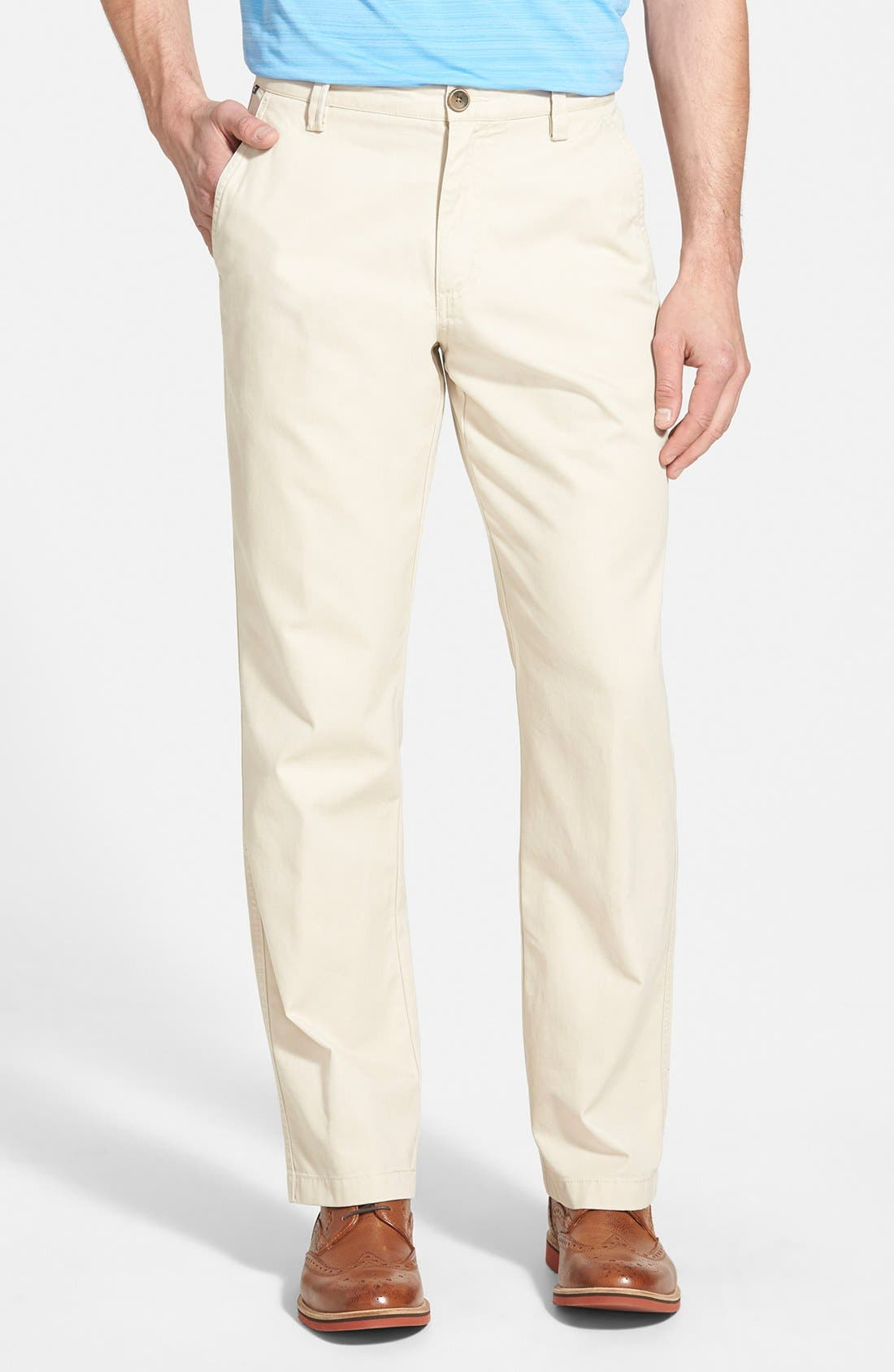 'Beckett' Straight Leg Washed Cotton Pants,                             Main thumbnail 1, color,                             SAND