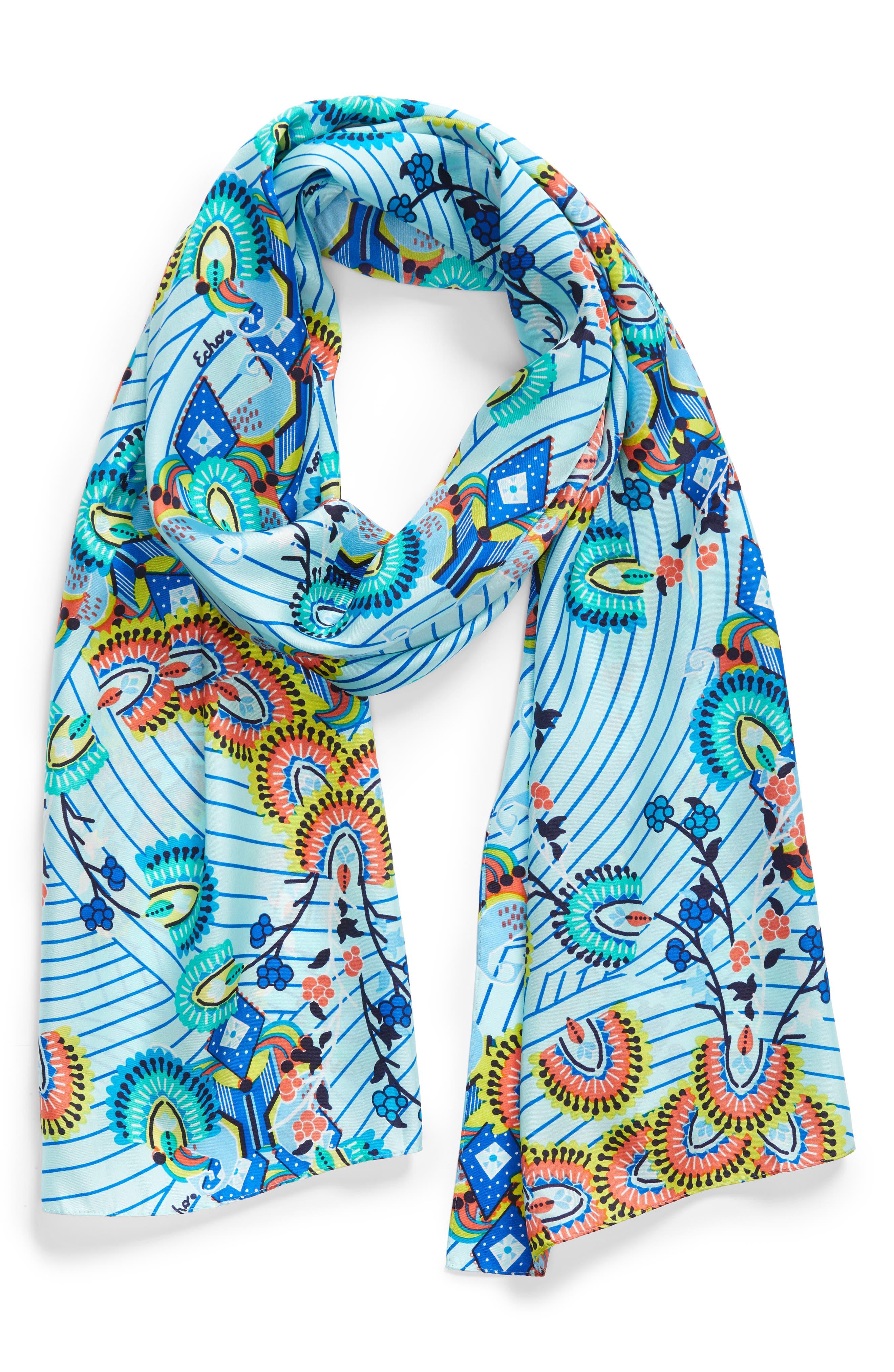 Kingston Silk Scarf,                             Alternate thumbnail 2, color,                             BLUE GROTTO
