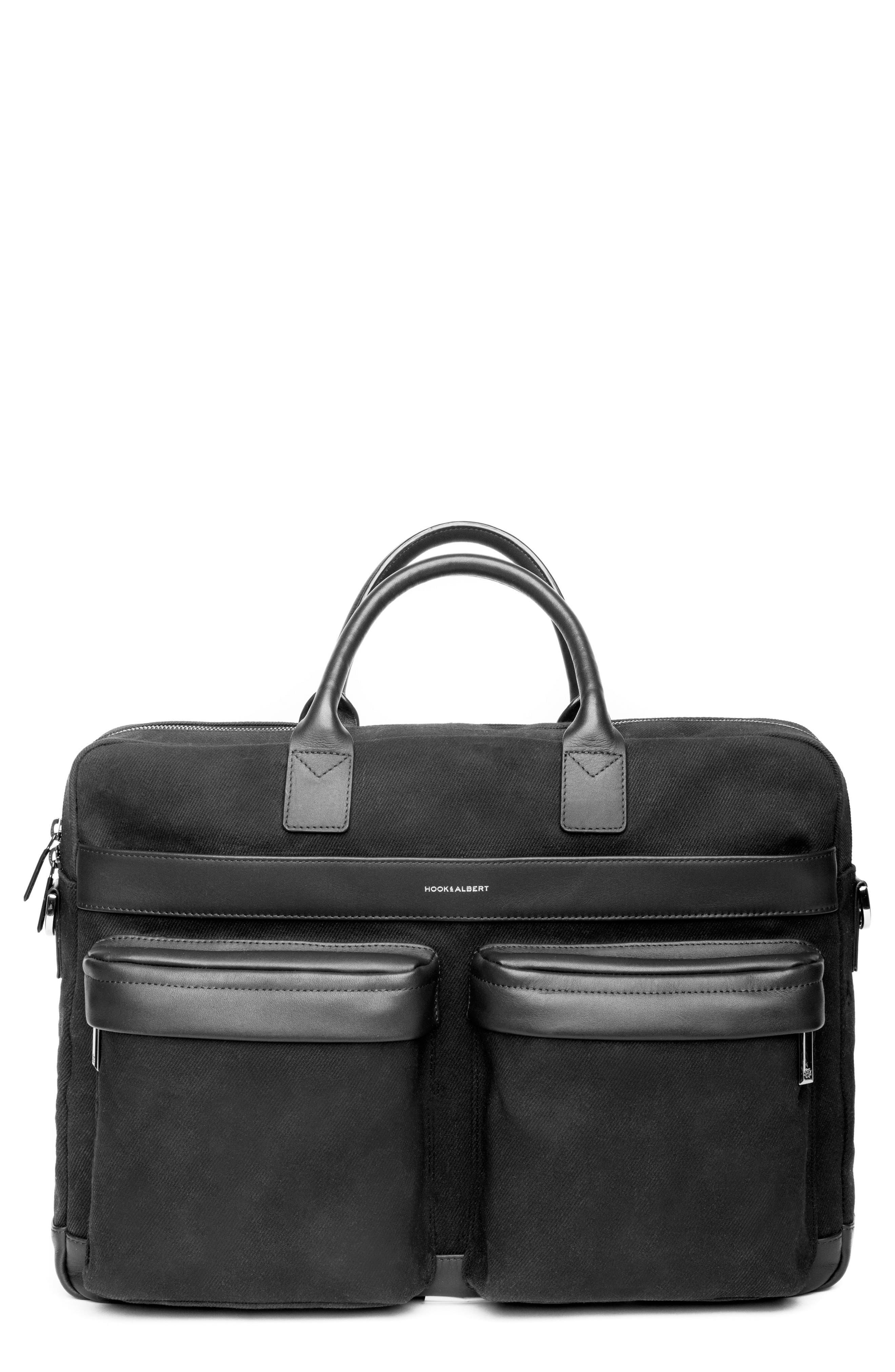 Canvas Laptop Briefcase,                             Main thumbnail 1, color,                             BLACK