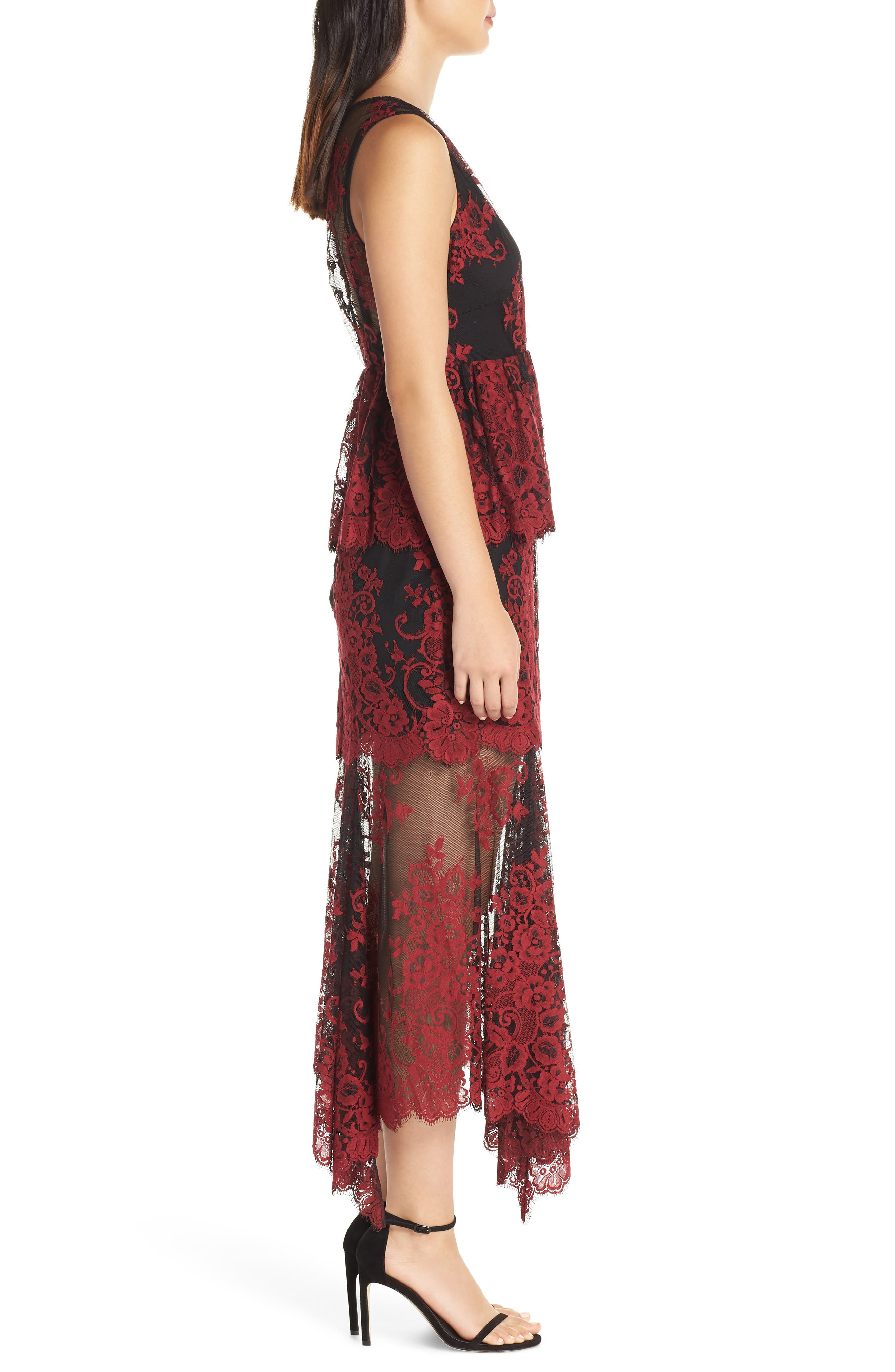 The Brooklyn Tiered Gown,                             Alternate thumbnail 3, color,                             BLACK-RED LACE