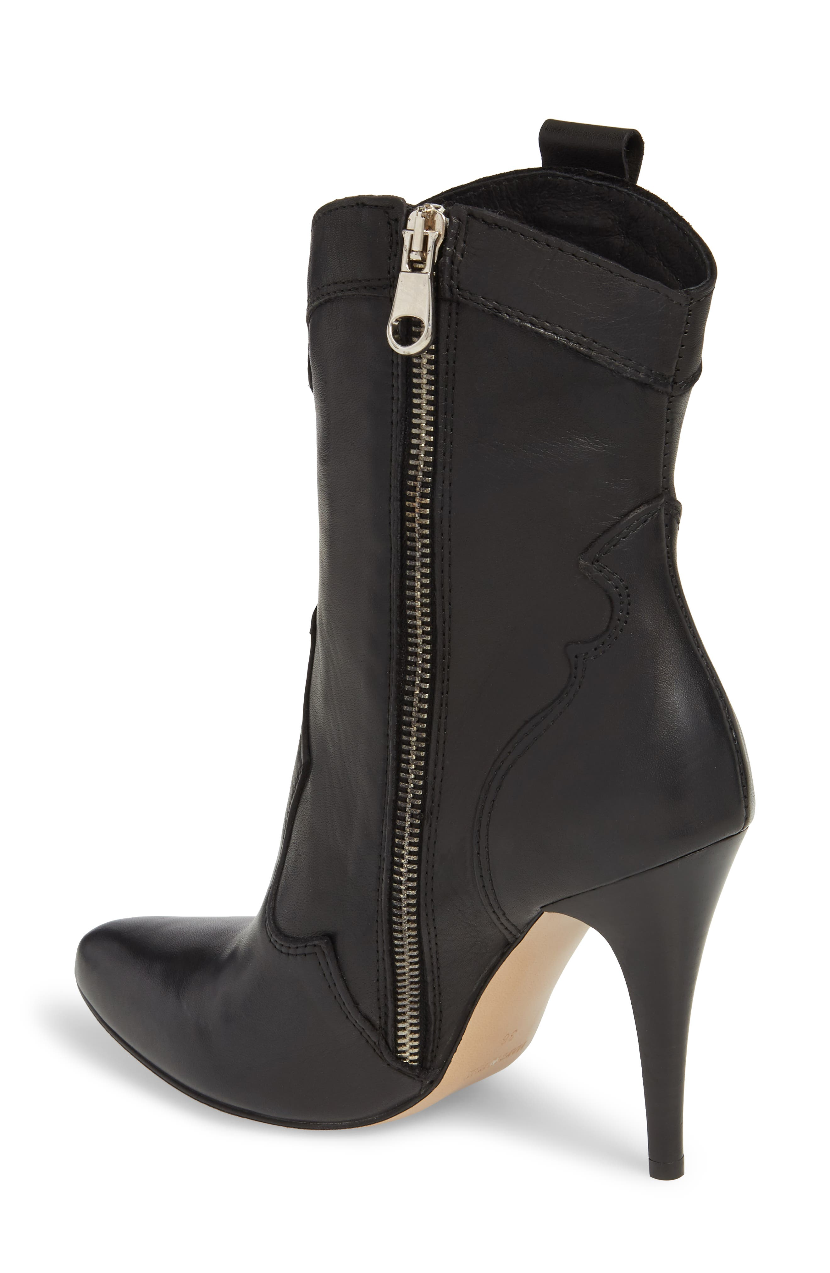 Kimberly Western Bootie,                             Alternate thumbnail 2, color,                             BLACK LEATHER