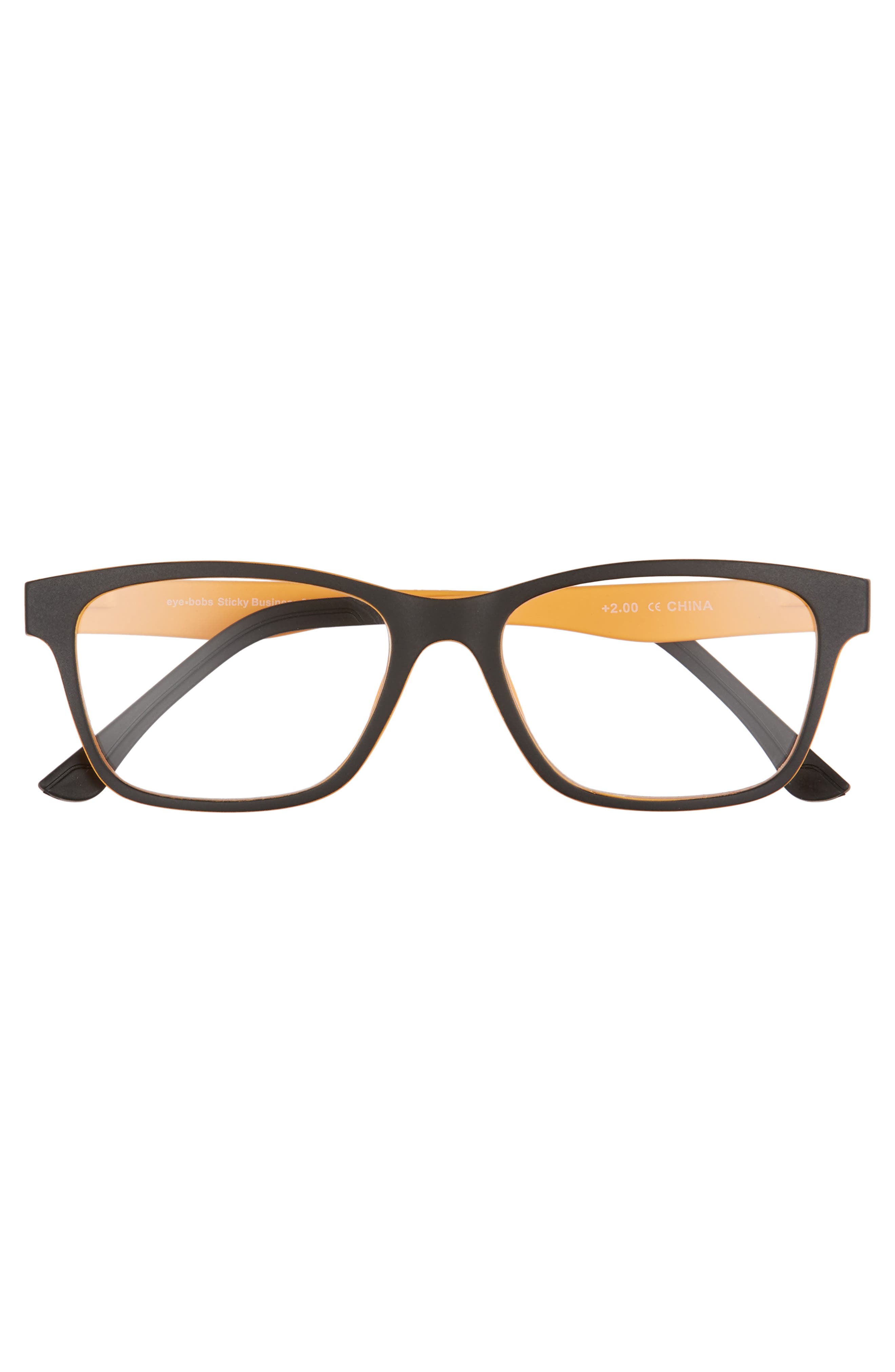 Sticky Business 52mm Reading Glasses with Polarized Sunglass Clip,                             Alternate thumbnail 2, color,                             BLACK WITH YELLOW