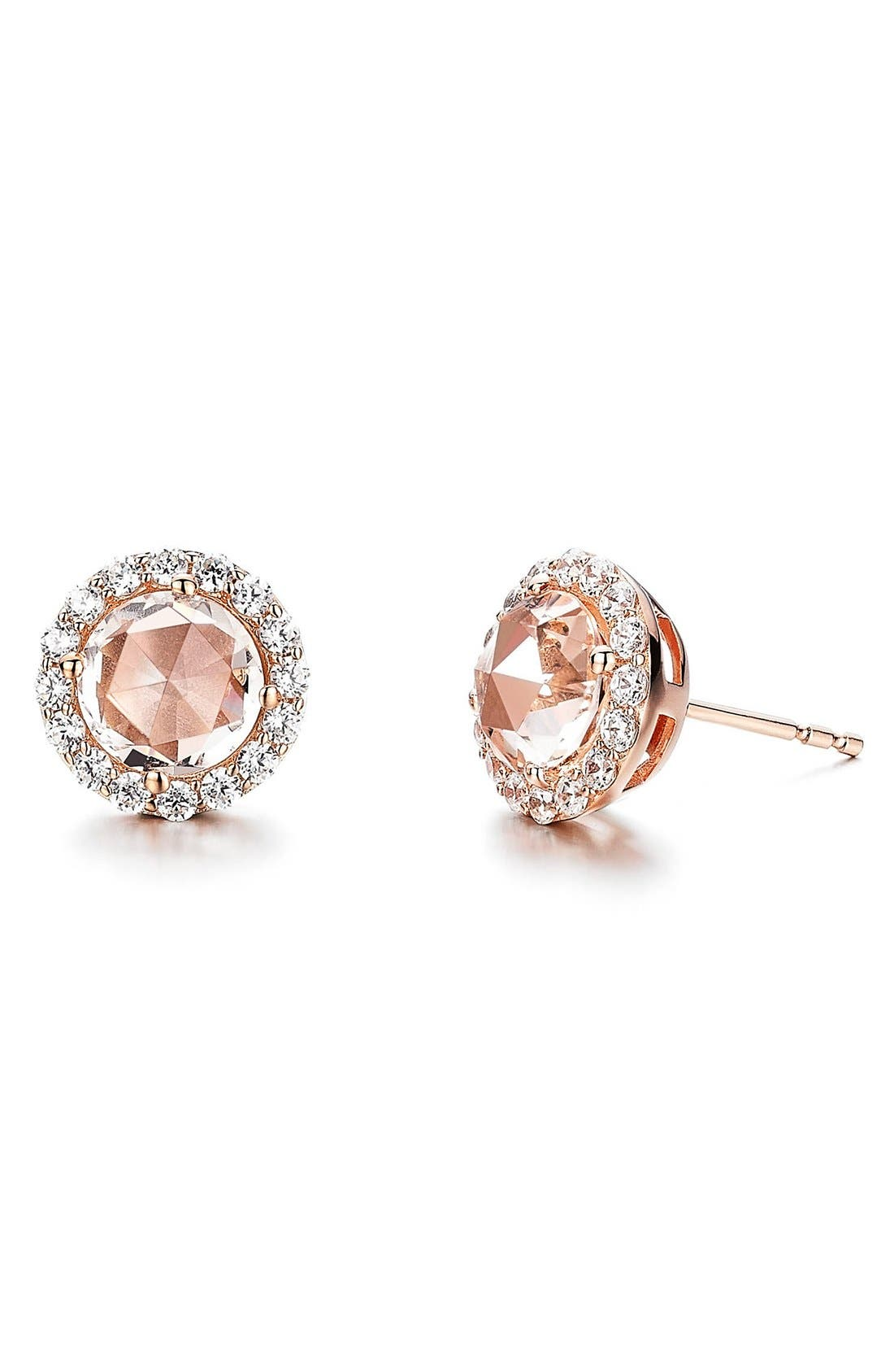 Stud Earrings,                             Main thumbnail 1, color,                             PINK / ROSE GOLD