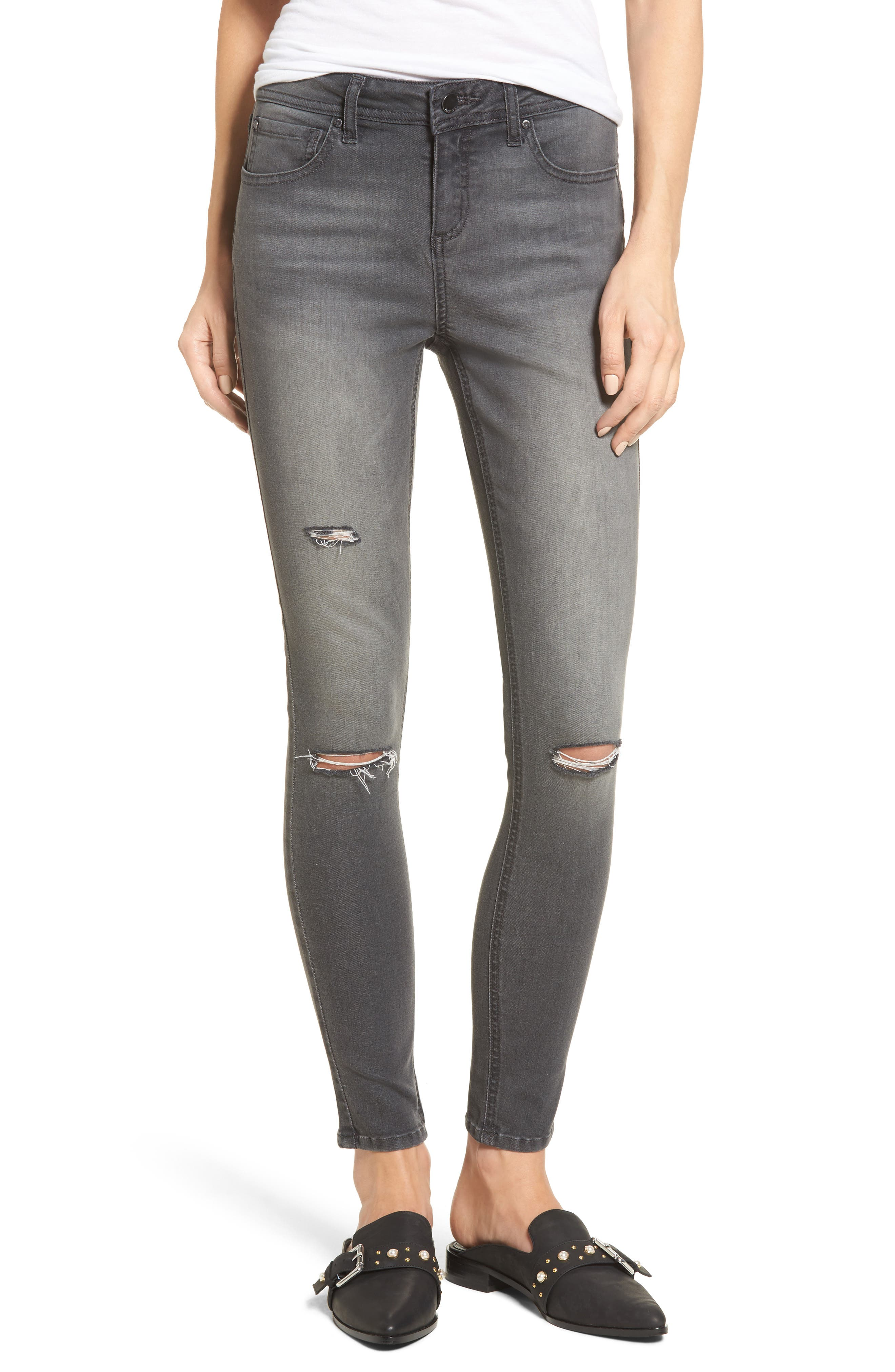 Ripped Skinny Jeans,                         Main,                         color, REBELITE CHARCOAL