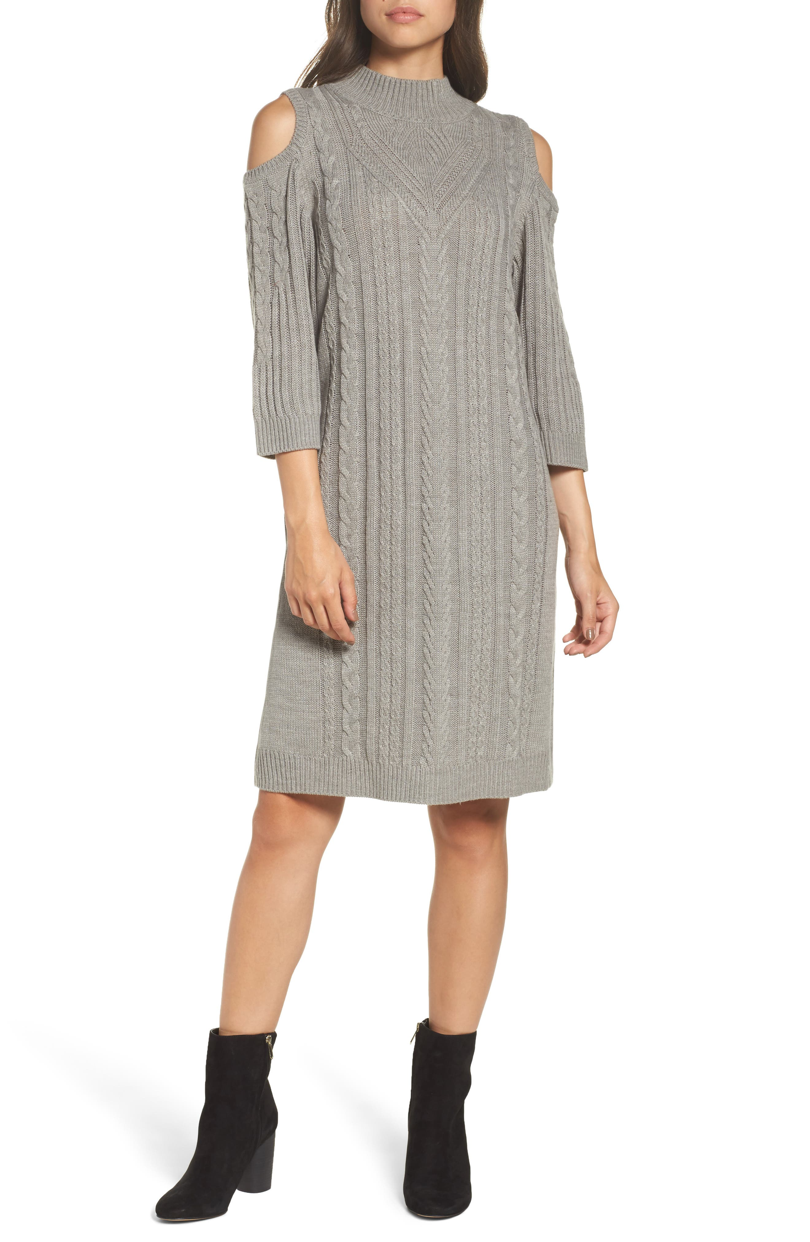 Cold Shoulder Cable Sweater Dress,                             Alternate thumbnail 5, color,                             021