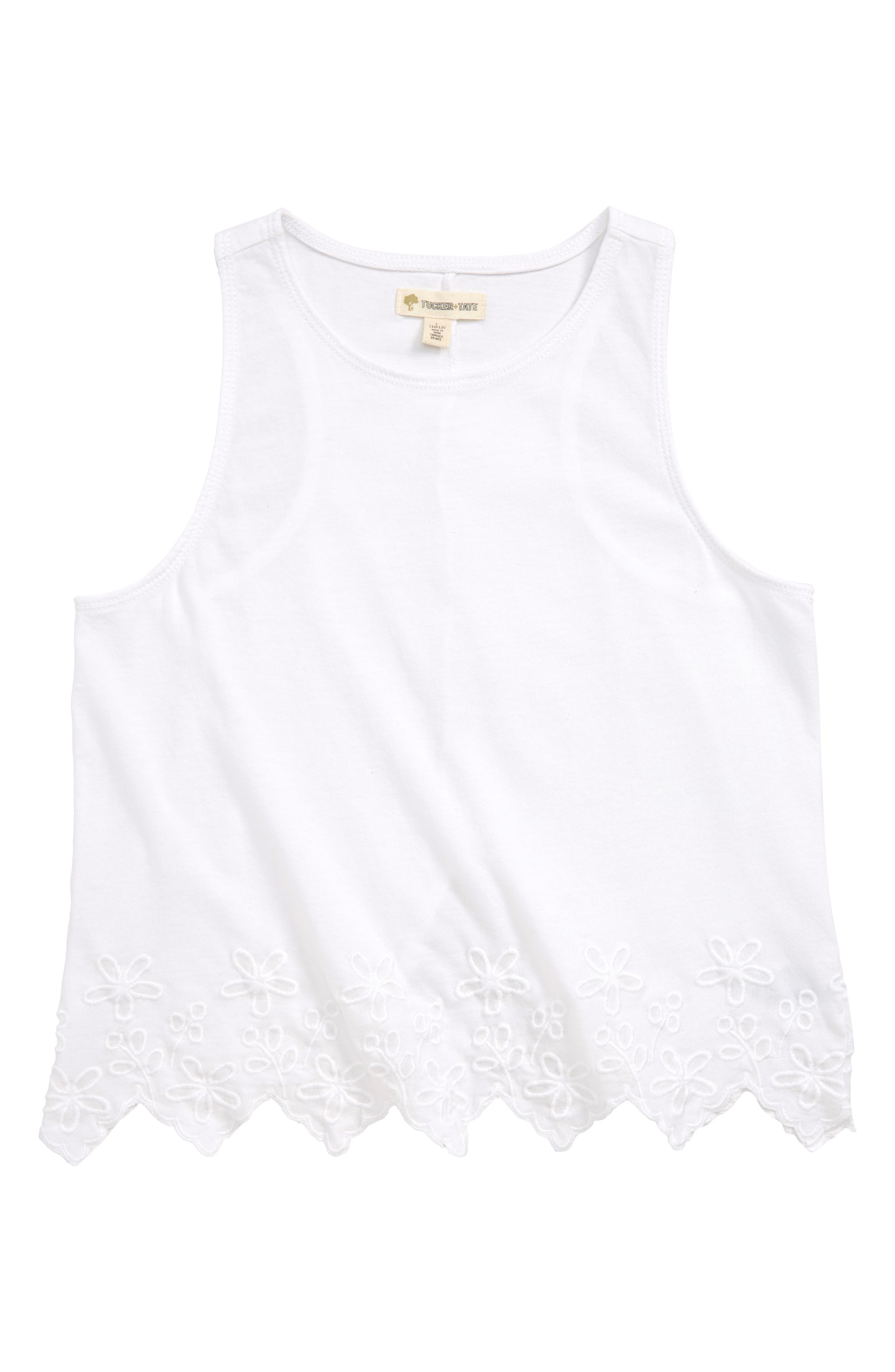 Scallop Edge Tank,                         Main,                         color, WHITE