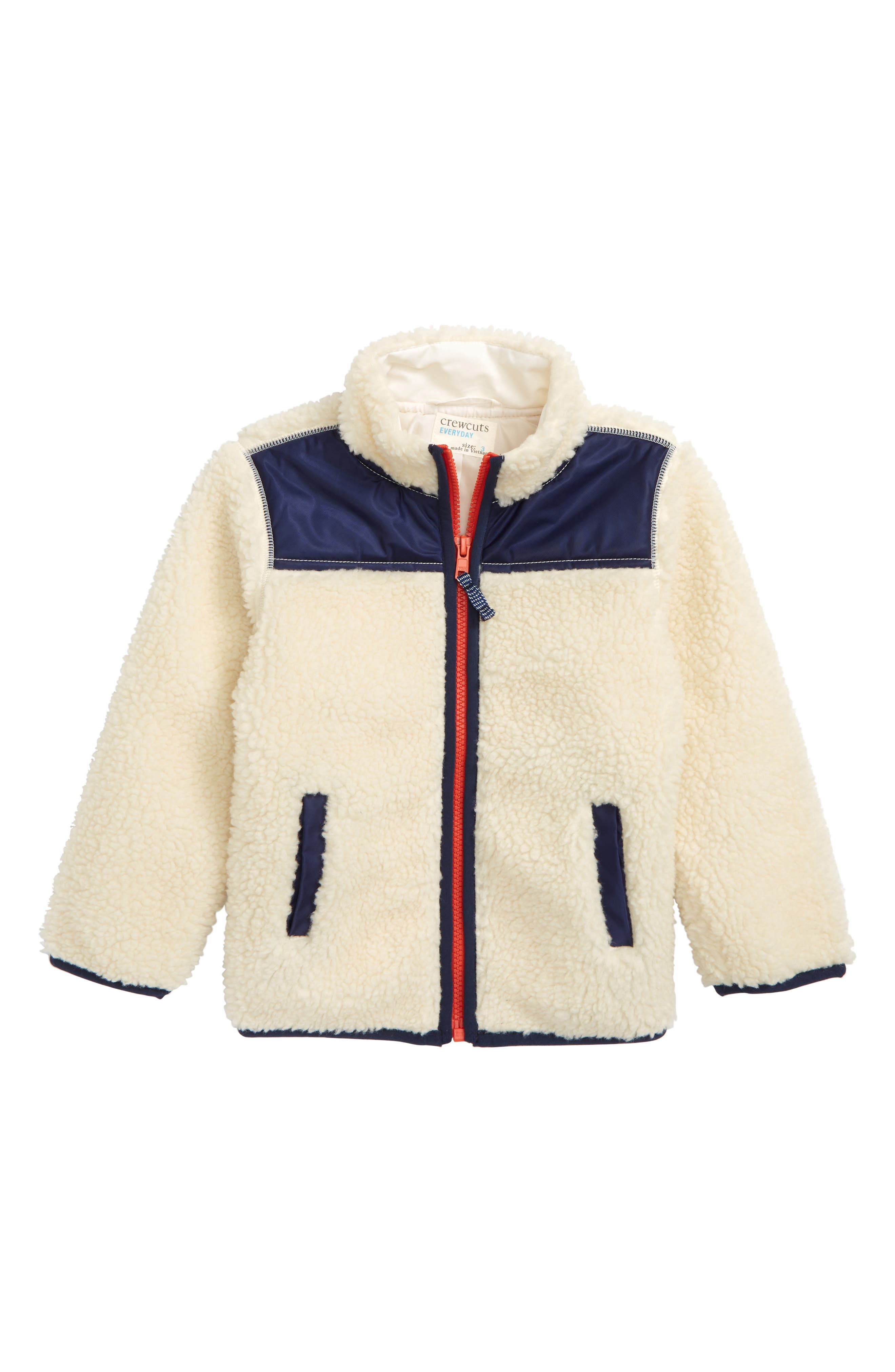 Colorblock Fleece Jacket,                             Main thumbnail 1, color,                             LINEN