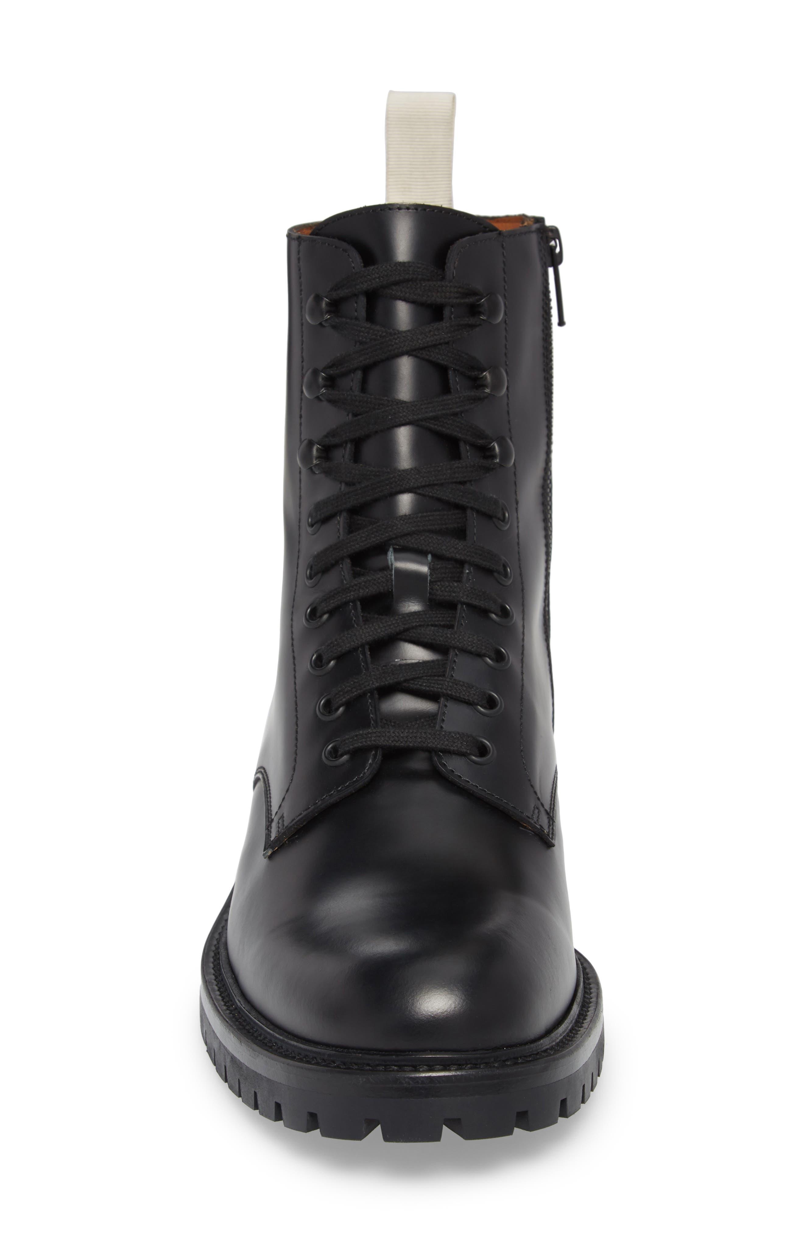 Zipper Combat Boot,                             Alternate thumbnail 4, color,                             BLACK LEATHER