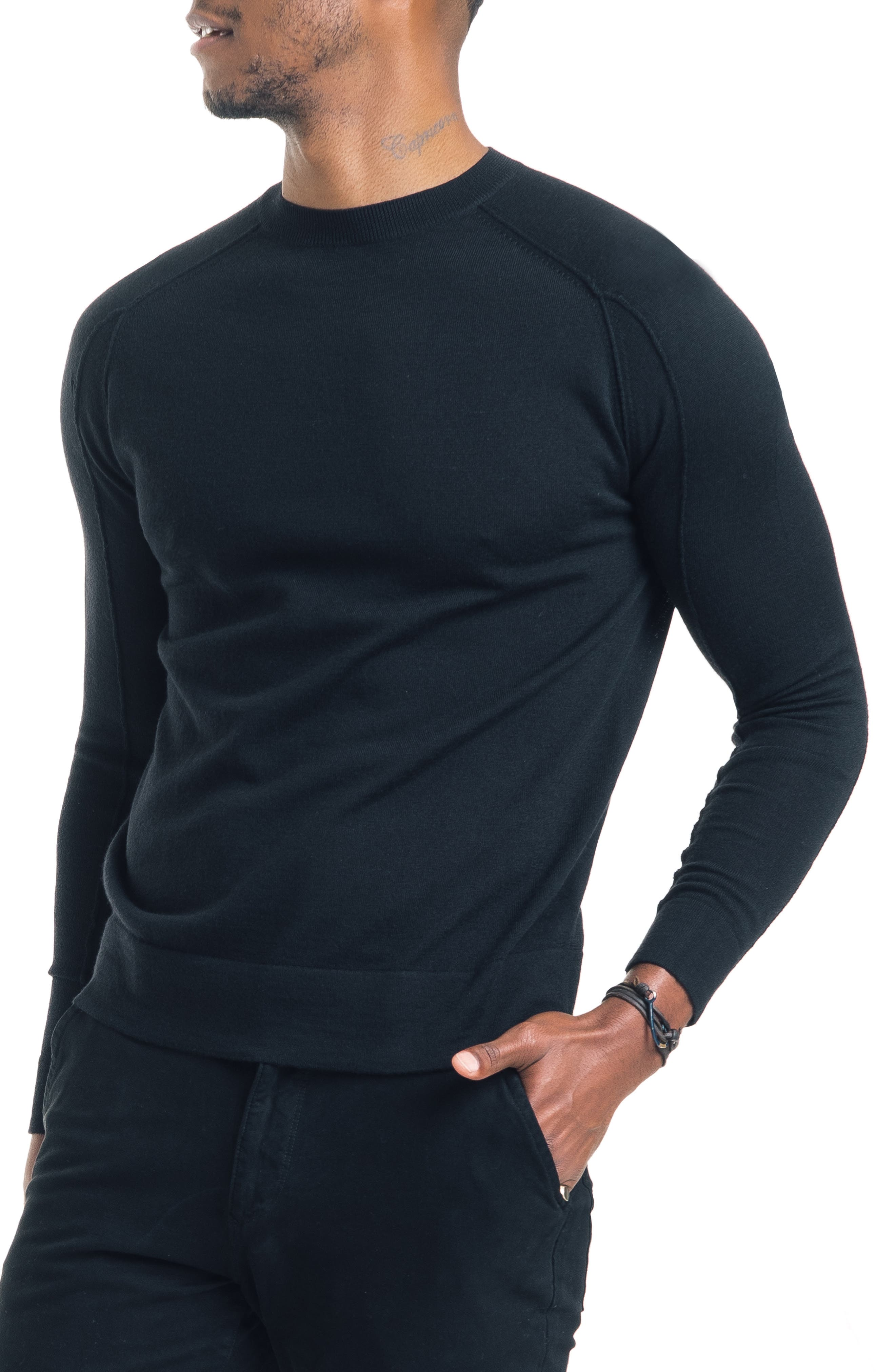 Good Man Brand Modern Slim Fit Merino Wool Sweater, Black