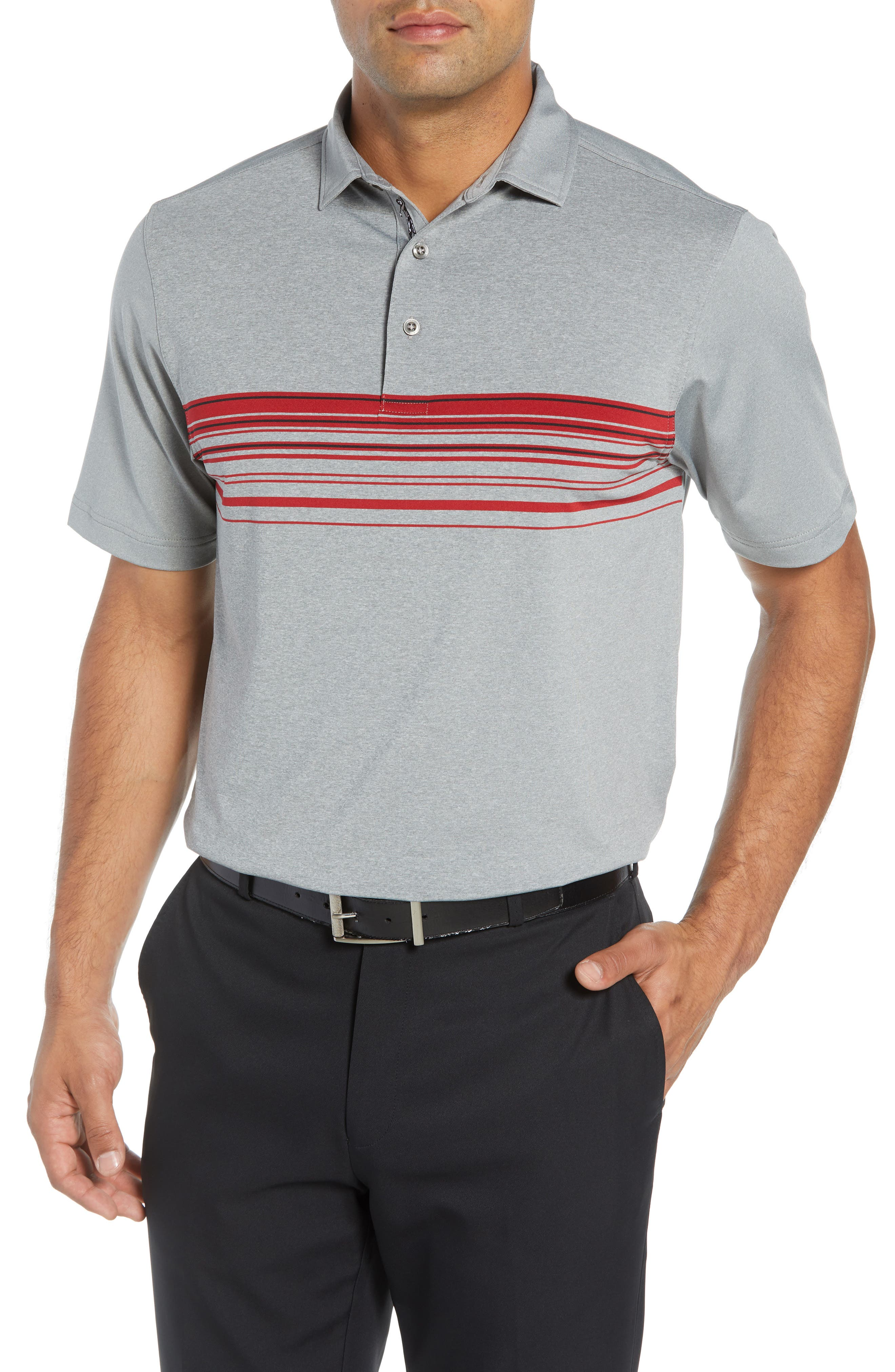XH20 Gable Stripe Jersey Polo,                             Main thumbnail 1, color,                             GRAPHITE