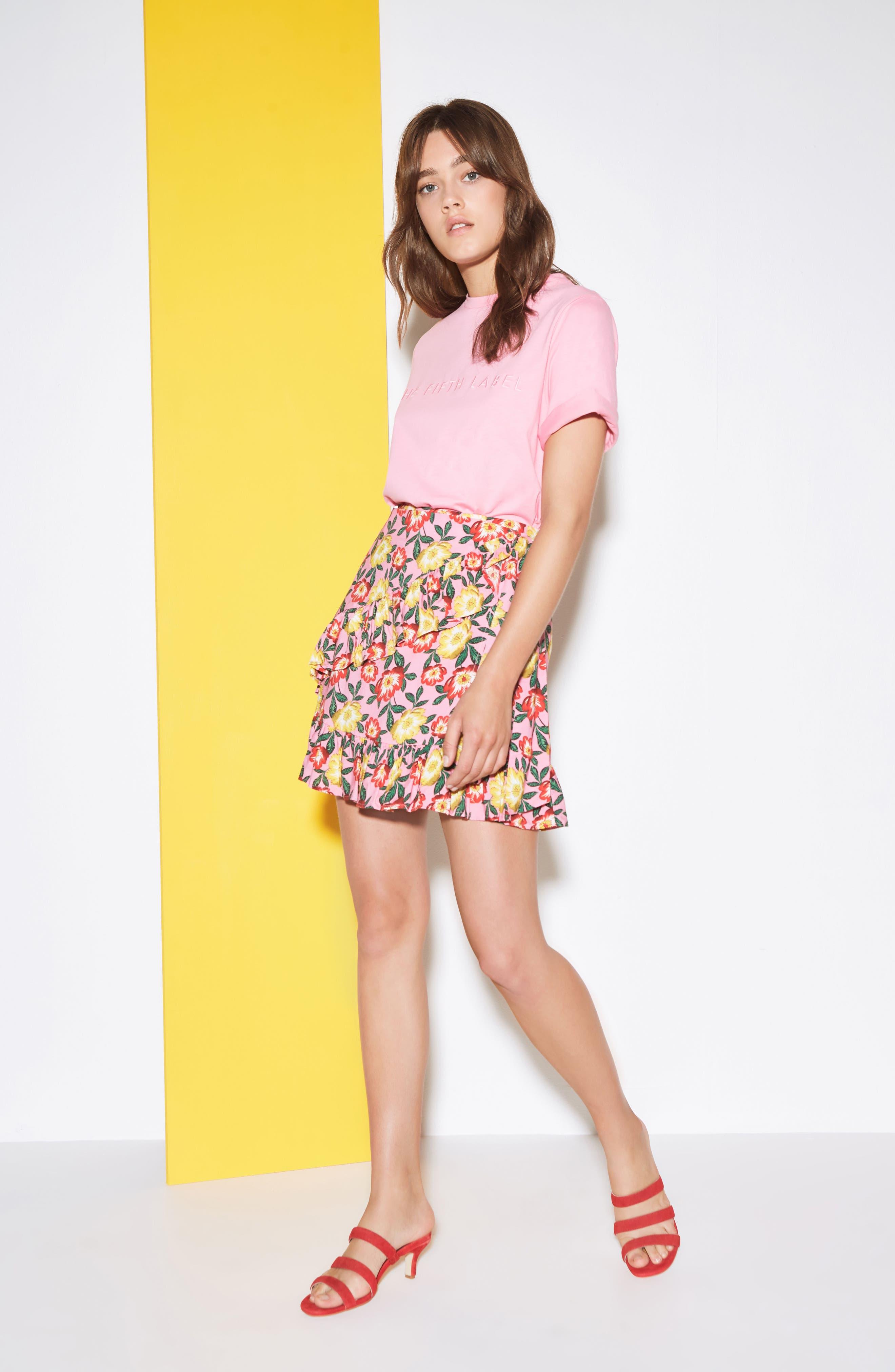 Reunion Floral Print Wrap Skirt,                             Alternate thumbnail 7, color,                             650
