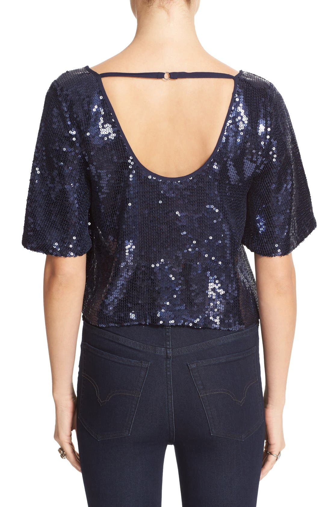 Night Fever Sequin Tee,                             Alternate thumbnail 3, color,                             410