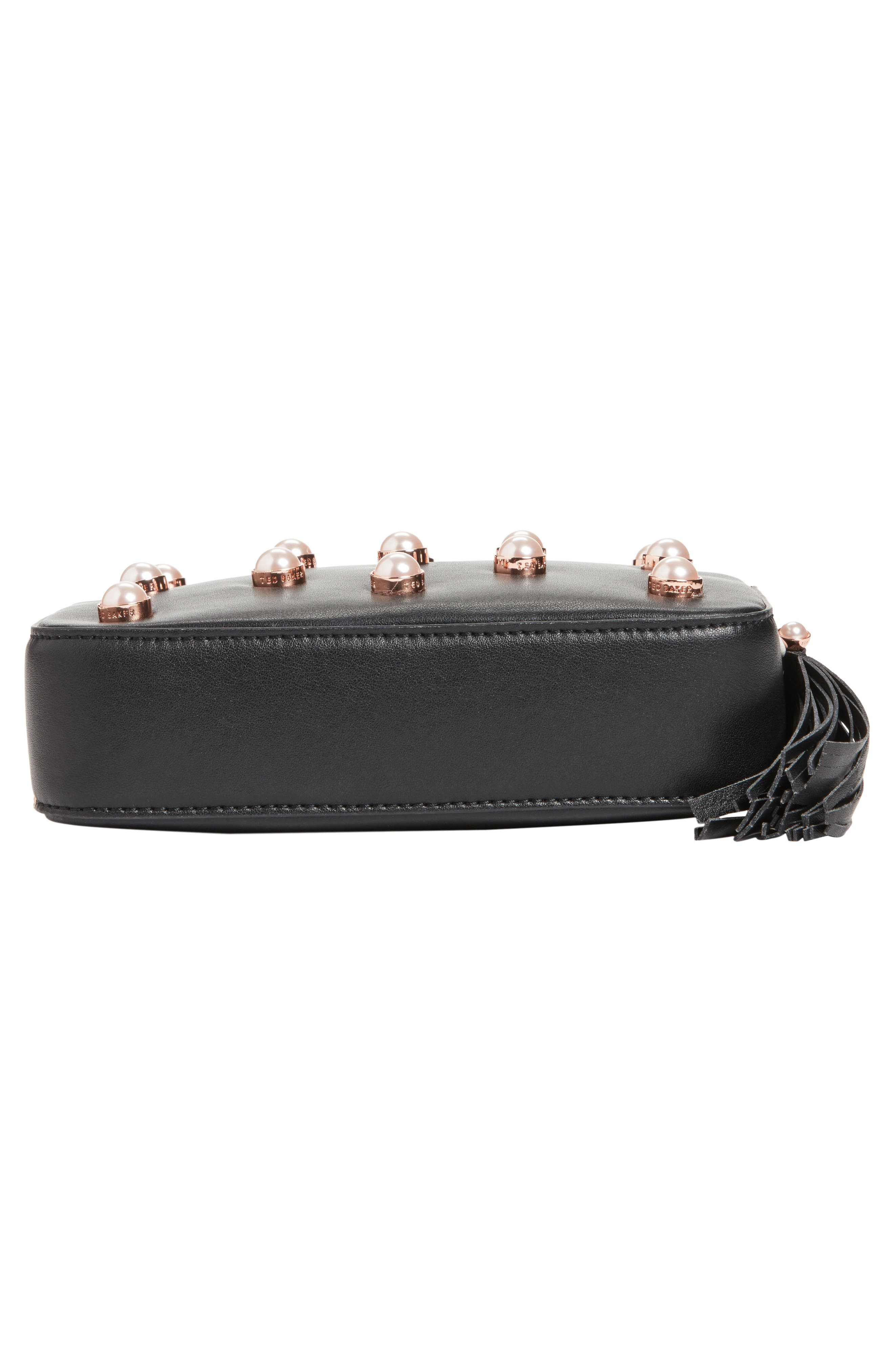 Alessia Imitation Pearl Embellished Leather Crossbody,                             Alternate thumbnail 6, color,                             001