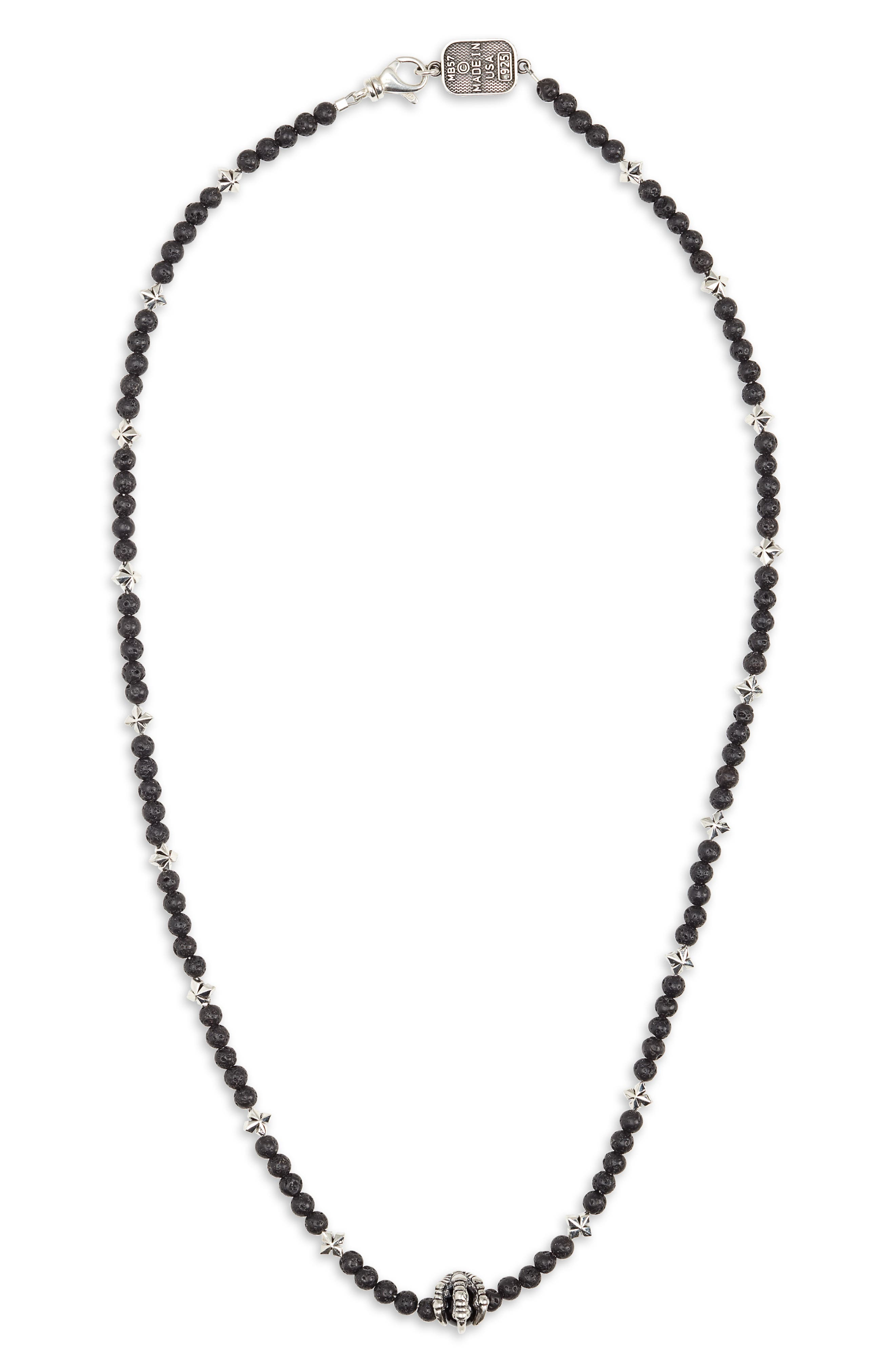 KING BABY Lava Rock & Onyx Bead Necklace in Silver/ Black