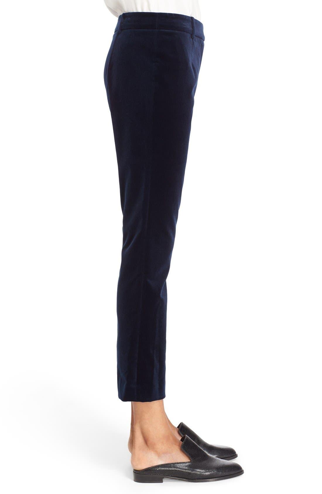 'Le Crop Mini Boot' High Rise Velvet Pants,                             Alternate thumbnail 5, color,                             410