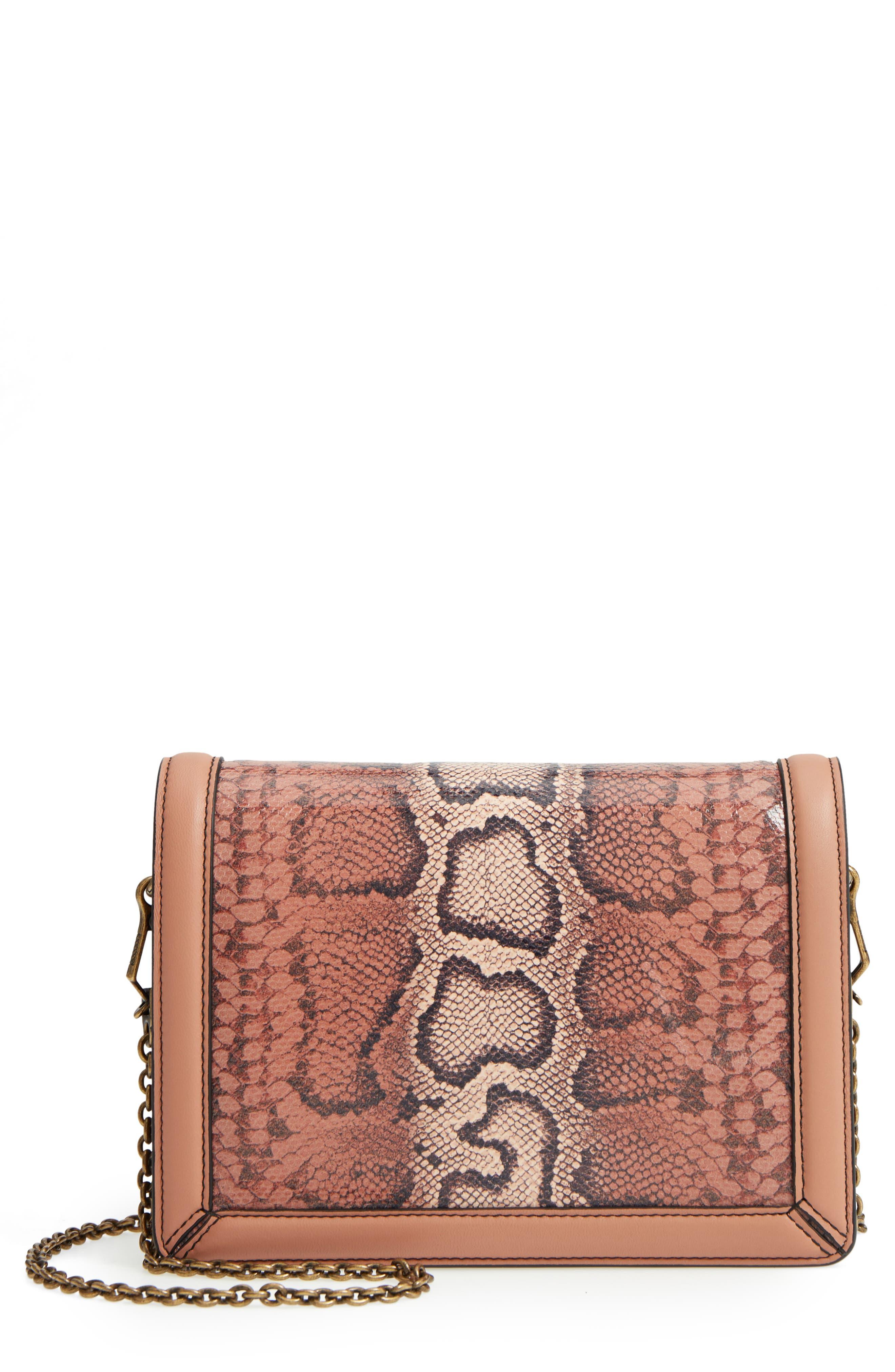 Mini Motobello Genuine Snakeskin & Leather Wallet on a Chain,                         Main,                         color, 566