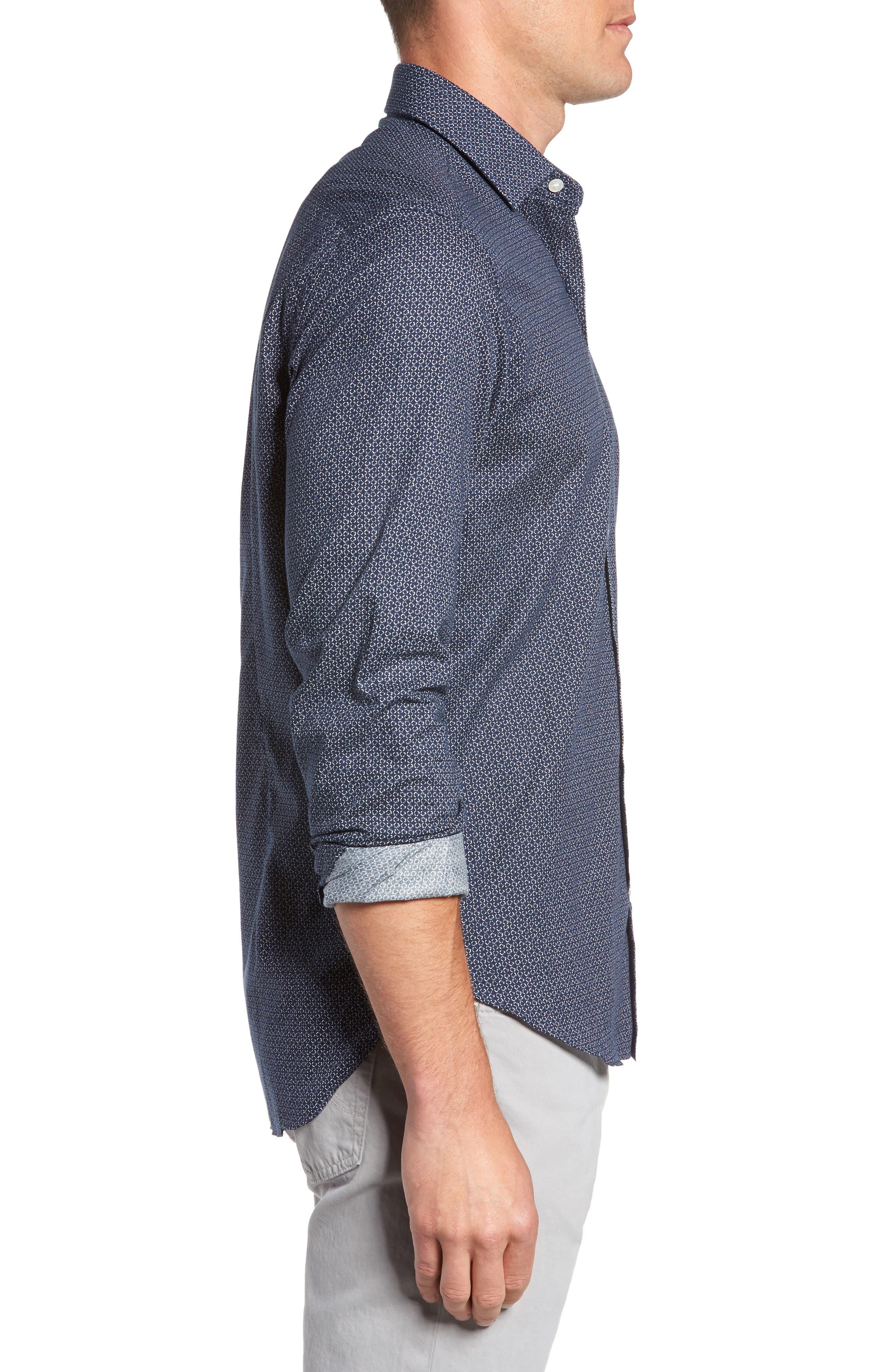 Trim Fit Abstract Print Sport Shirt,                             Alternate thumbnail 3, color,                             400
