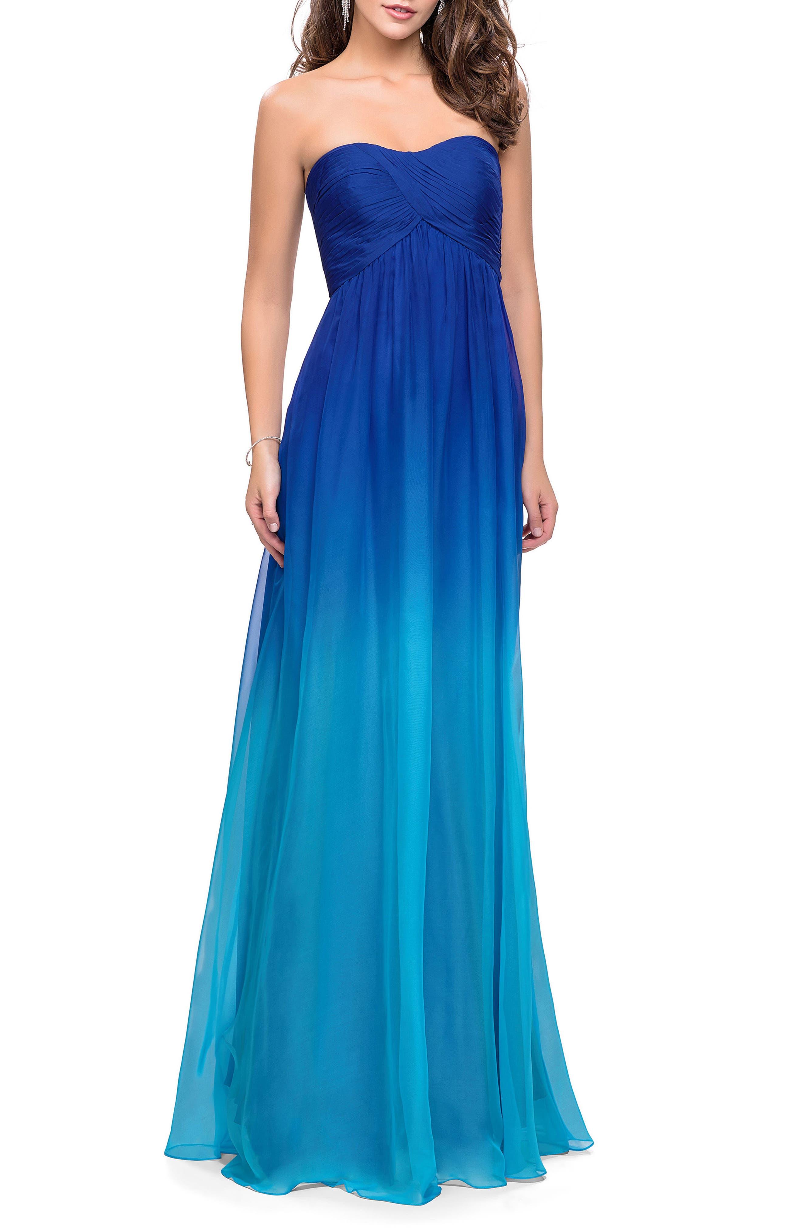 LA FEMME Ruched Ombré Chiffon Strapless Gown, Main, color, 440