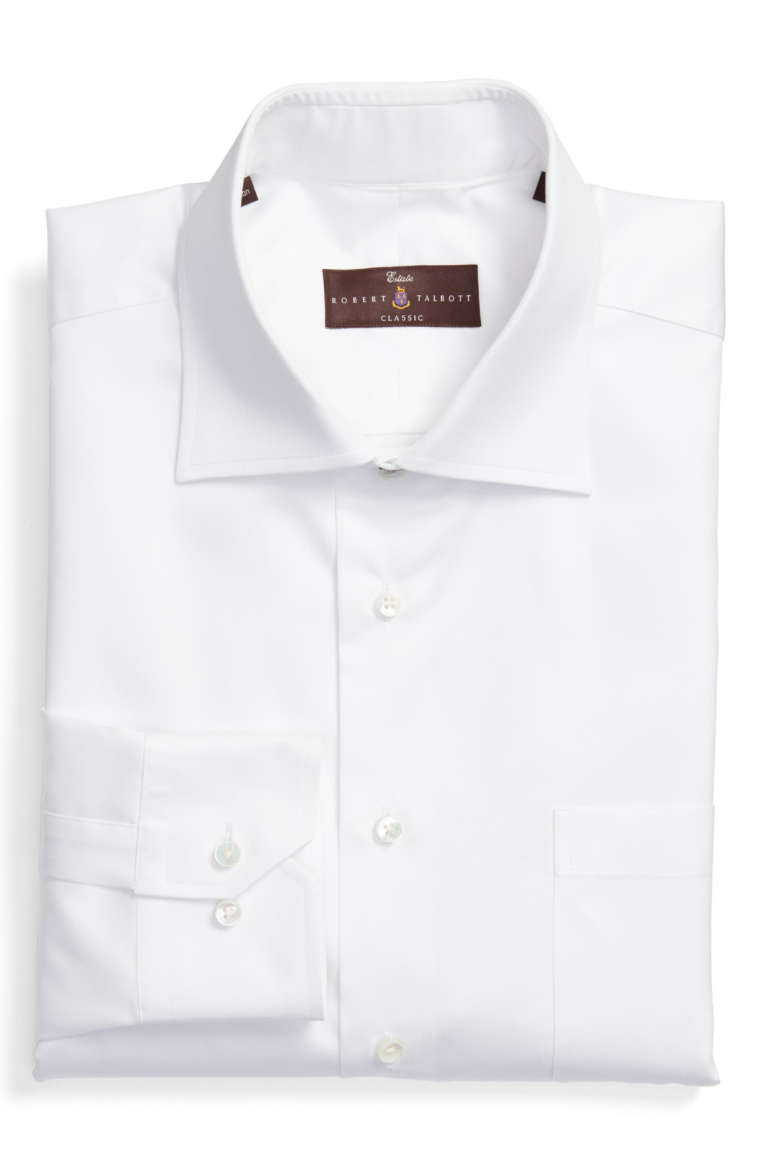 Classic Fit Dress Shirt,                         Main,                         color, WHITE