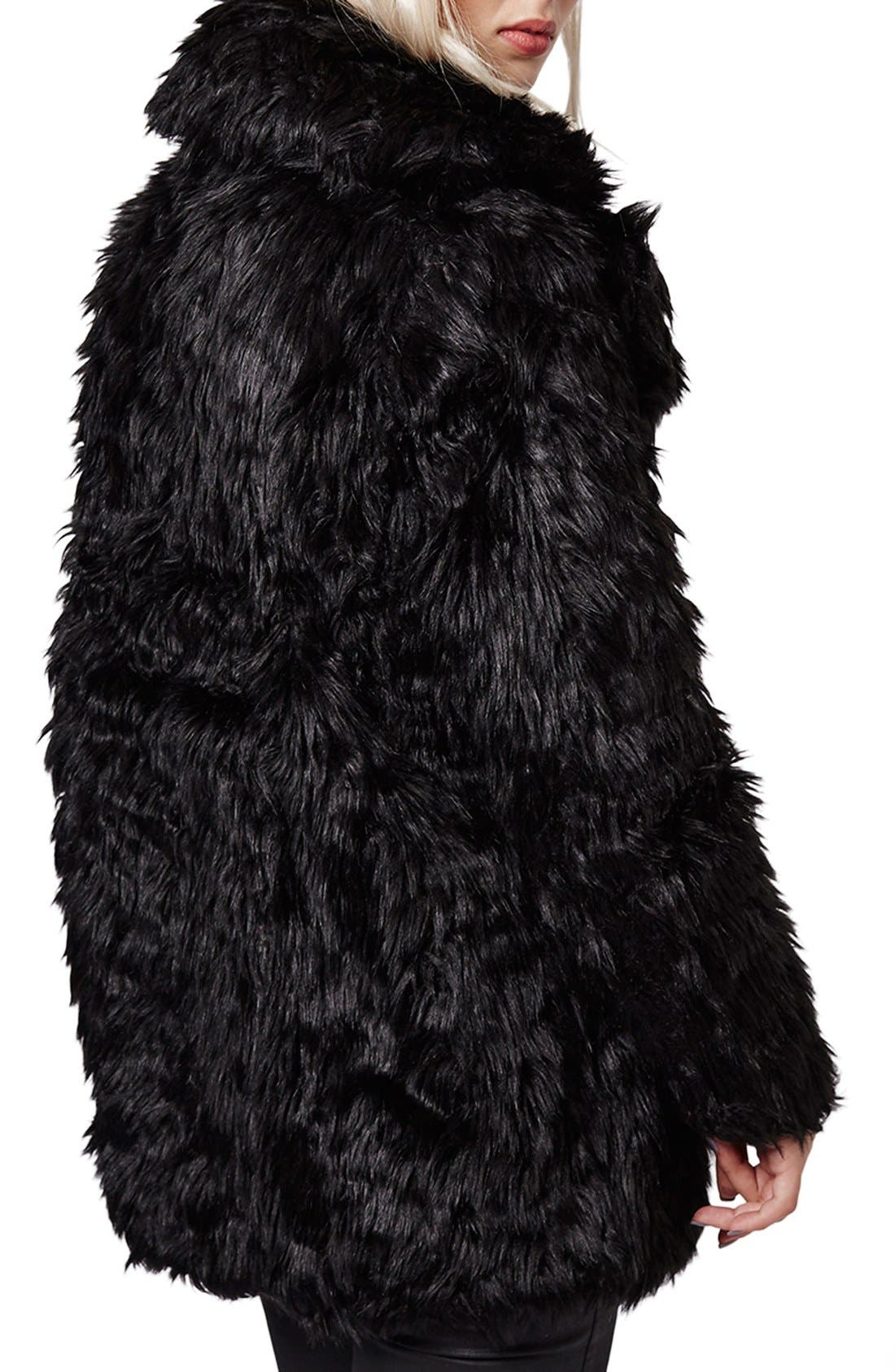 Urban Shaggy Faux Fur Coat,                             Alternate thumbnail 4, color,                             001